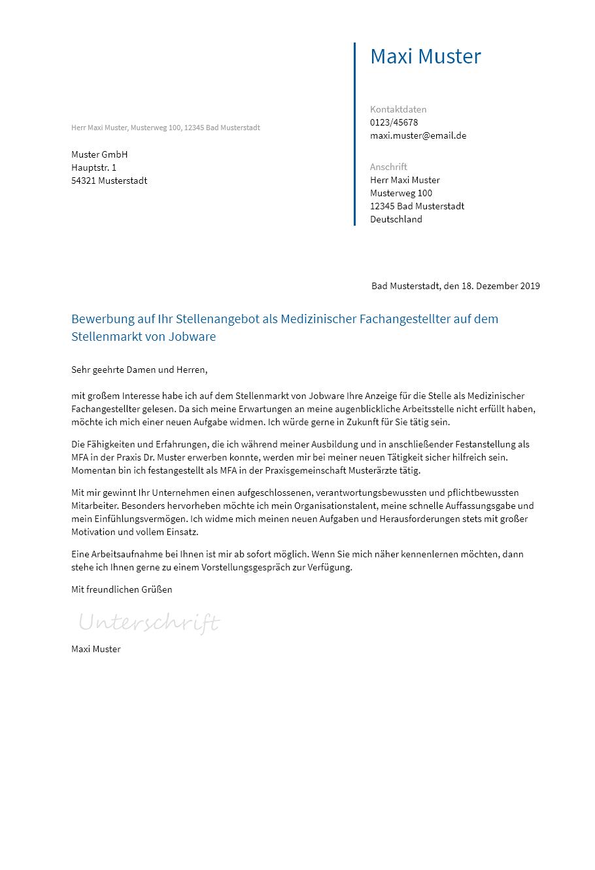 Bewerbungsvorlagen Als Mfa Bewerbung2go