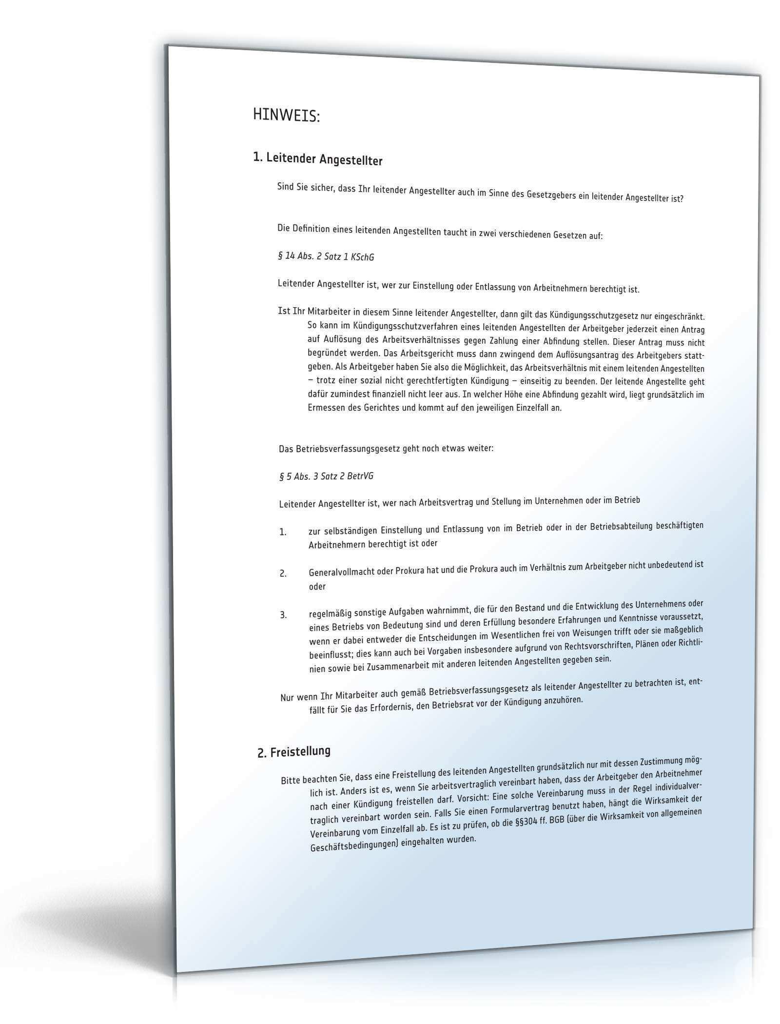 Fristgemasse Kundigung Leitender Angestellter Muster Zum Download