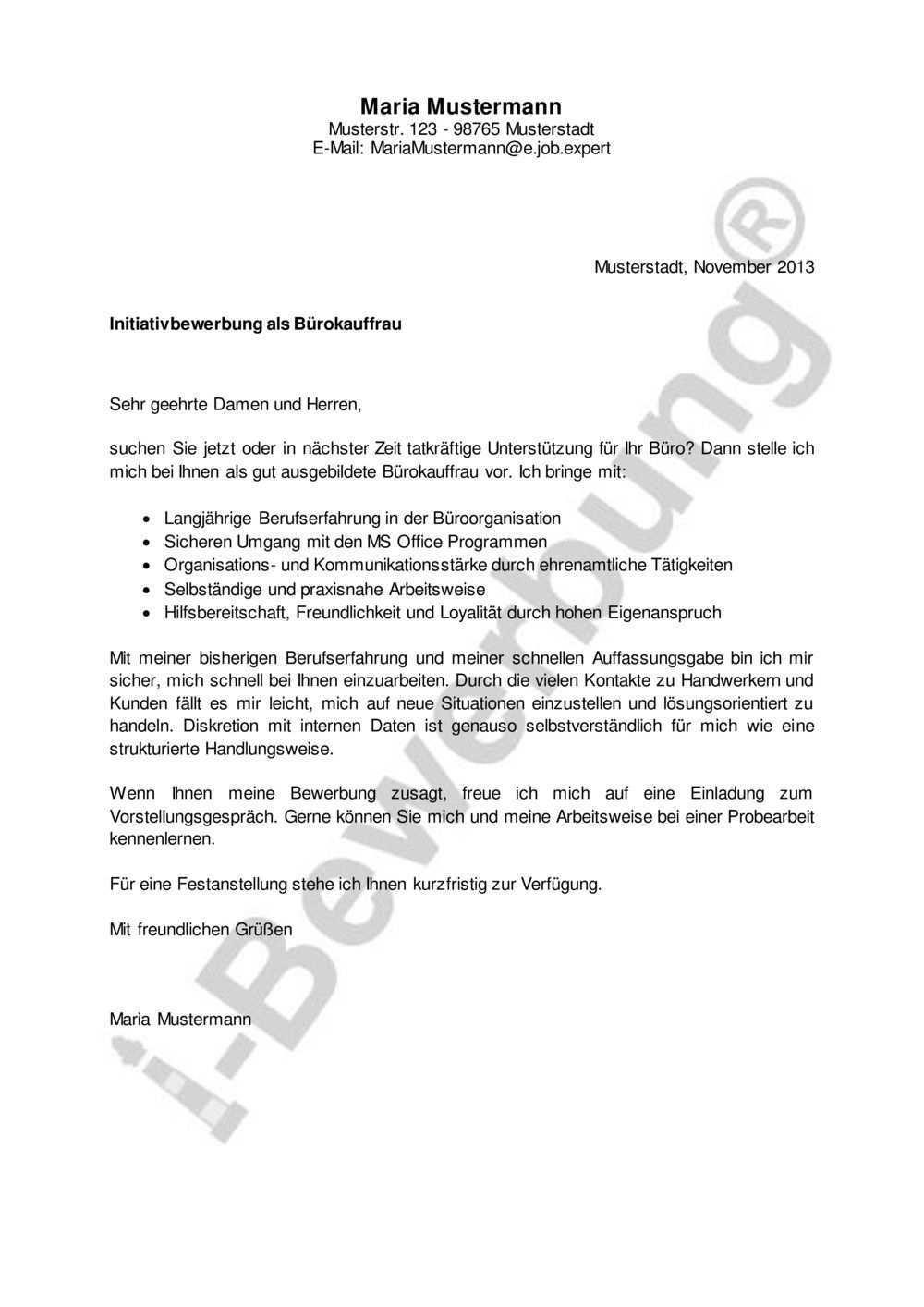 Initiativbewerbung Als Burokauffrau Beispiel Fur Das Anschreiben In 2020 Bewerbung Anschreiben Muster Bewerbung Bewerbung Anschreiben