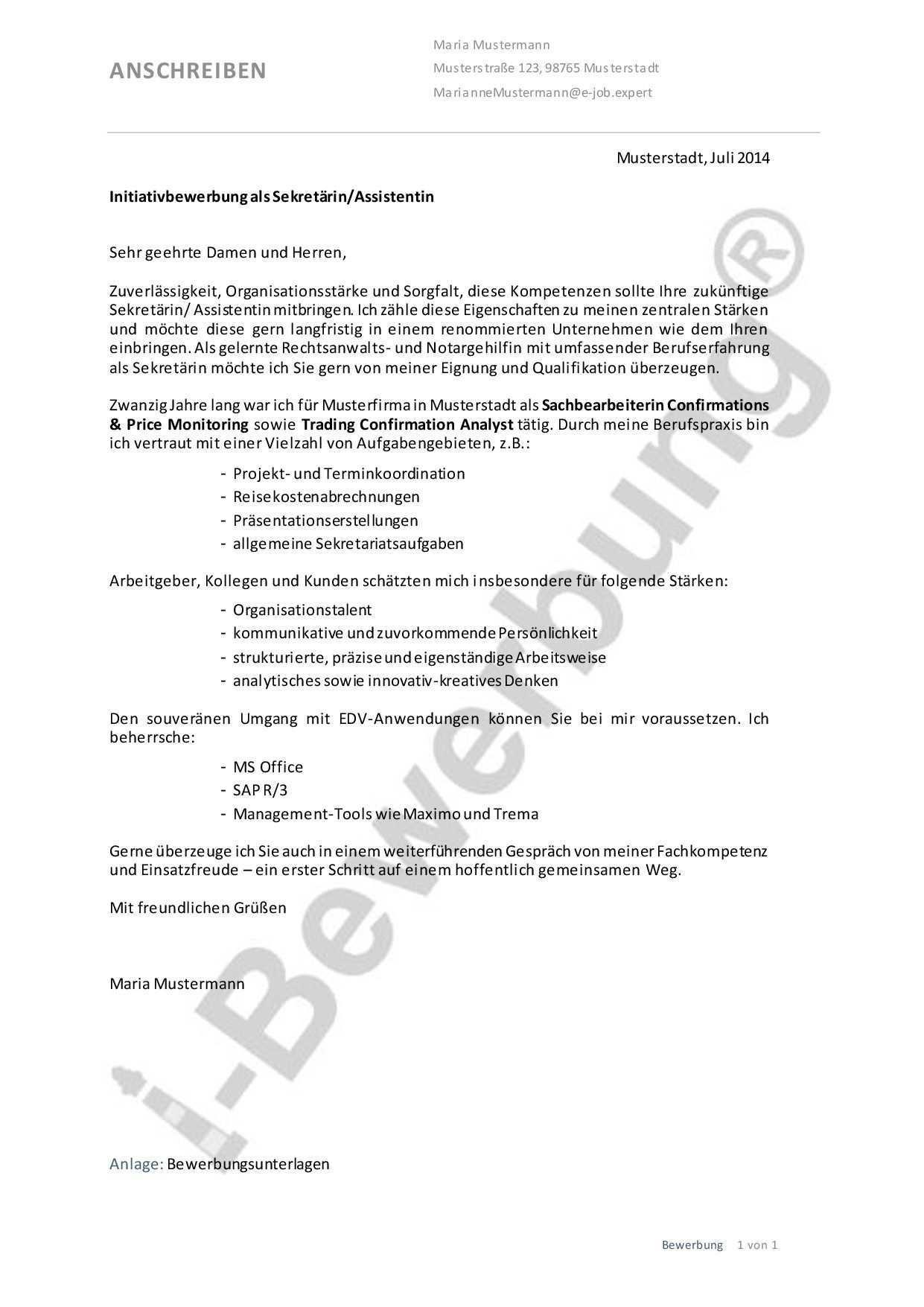 Initiativbewerbung Als Sekretarin Assistentin Vorlage Anschreiben Anschreiben Kurzbewerbung Bewerbung