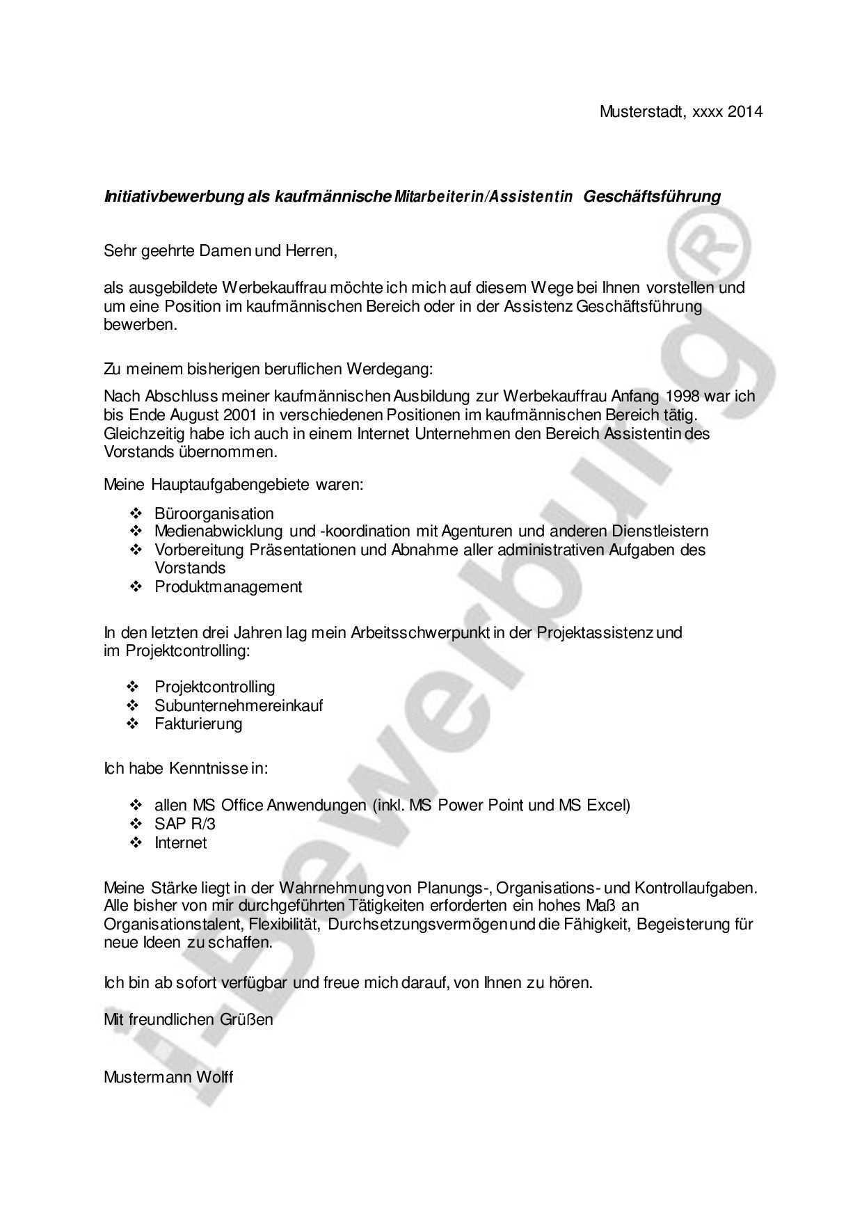 Die Vorlage Eines Anschreibens Im Kaufmannischen Bereich Fur Die Initiativbewerbung Bewerbung Anschreiben Muster Bewerbung Bewerbung Schreiben