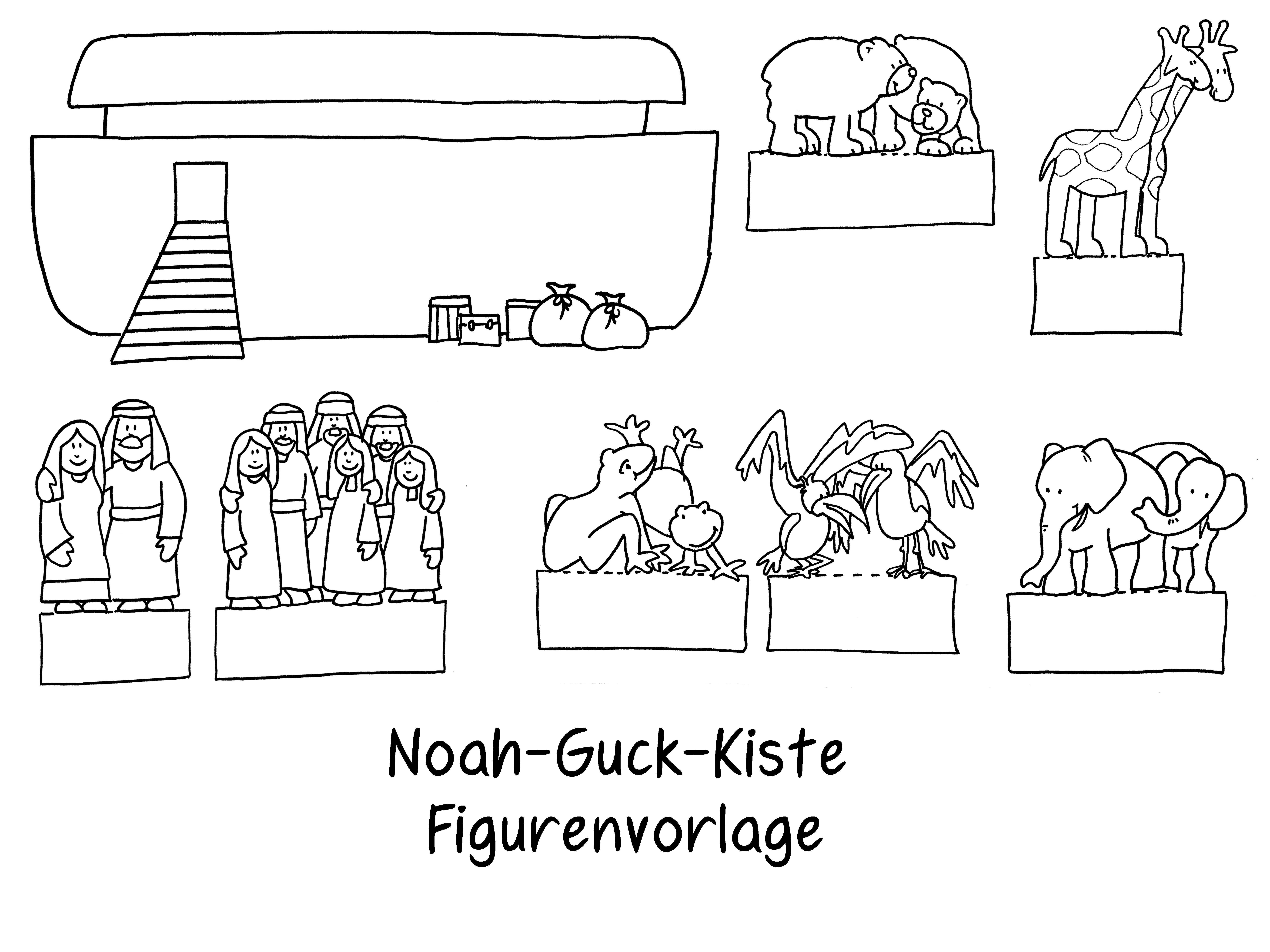 Figurenvorlage Noah Guck Kiste Kinderbibel Religionsunterricht Alltag Kinder
