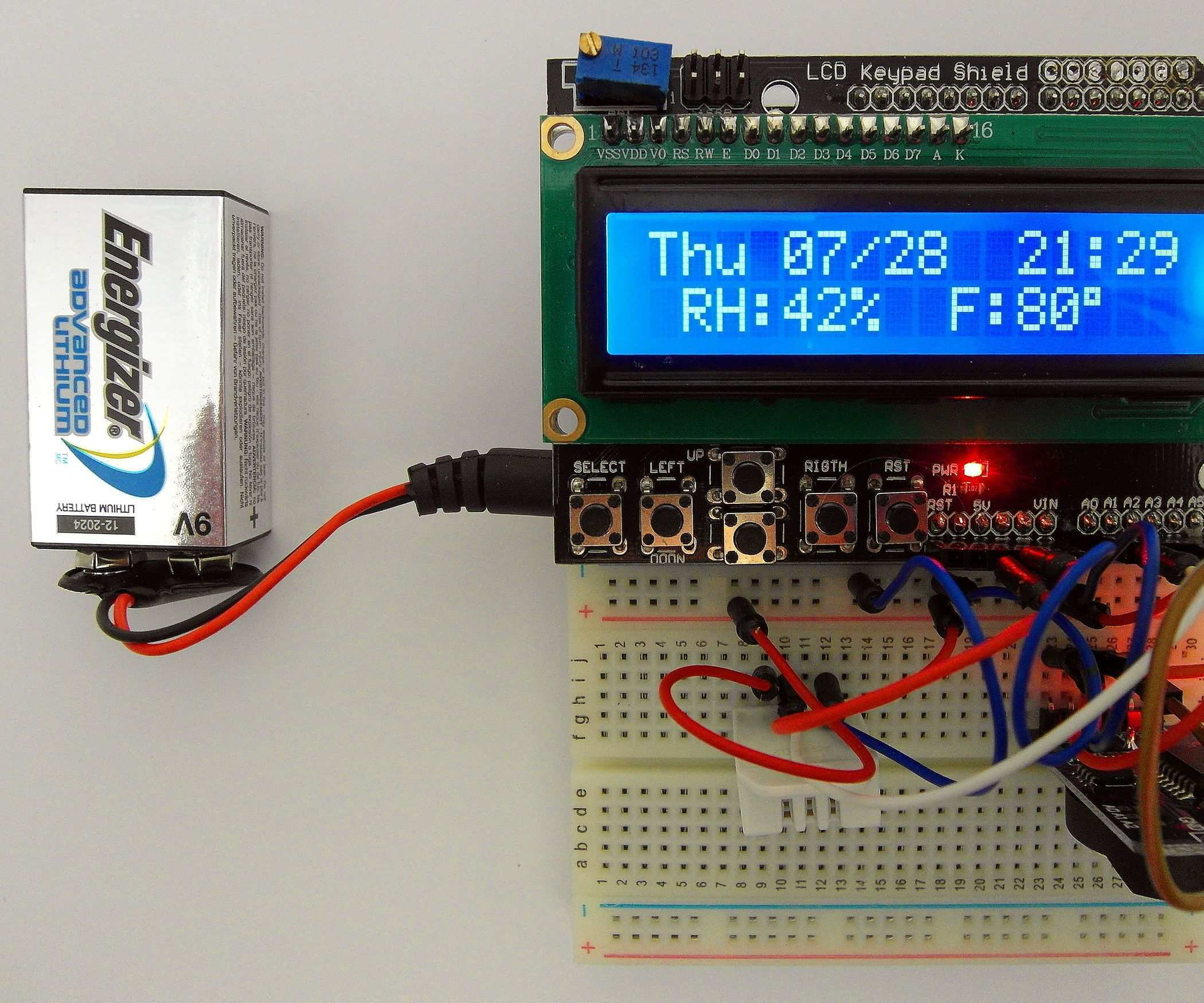 Day Of The Week Calendar Time Humidity Temperature With Battery Saver Arduino Lcd Keypad Shield Arduino Projects