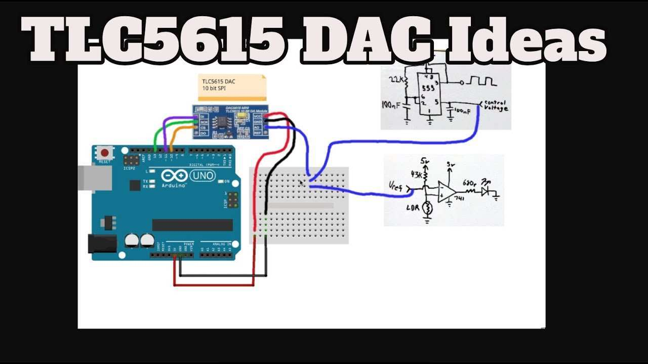 Tlc5615 Dac 10 Bit Spi With Arduino A 555 And Comparator Youtube