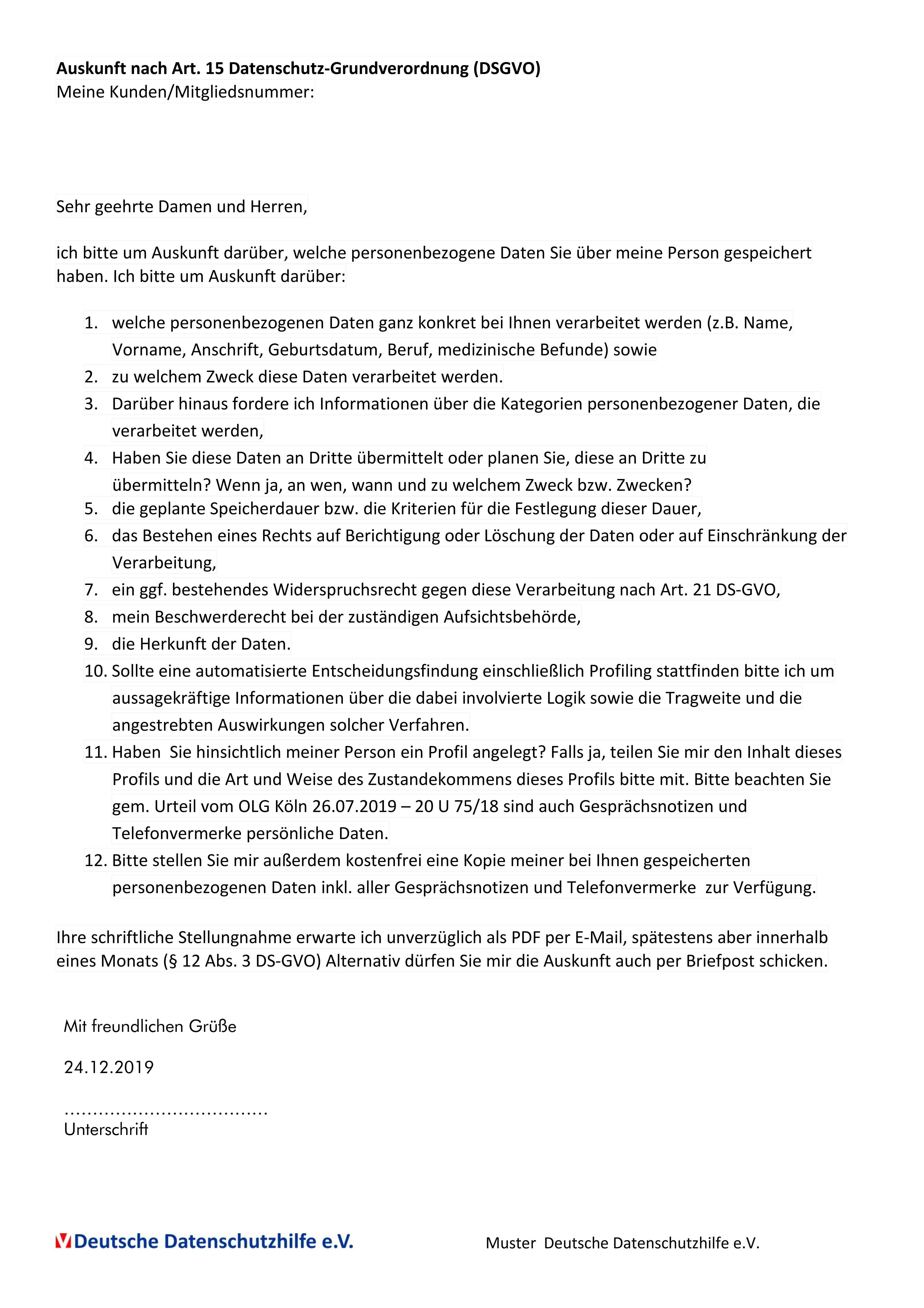 Muster Auskunftsersuchen Nach Art 15 Dsgvo Deutsche Datenschutzhilfe E V