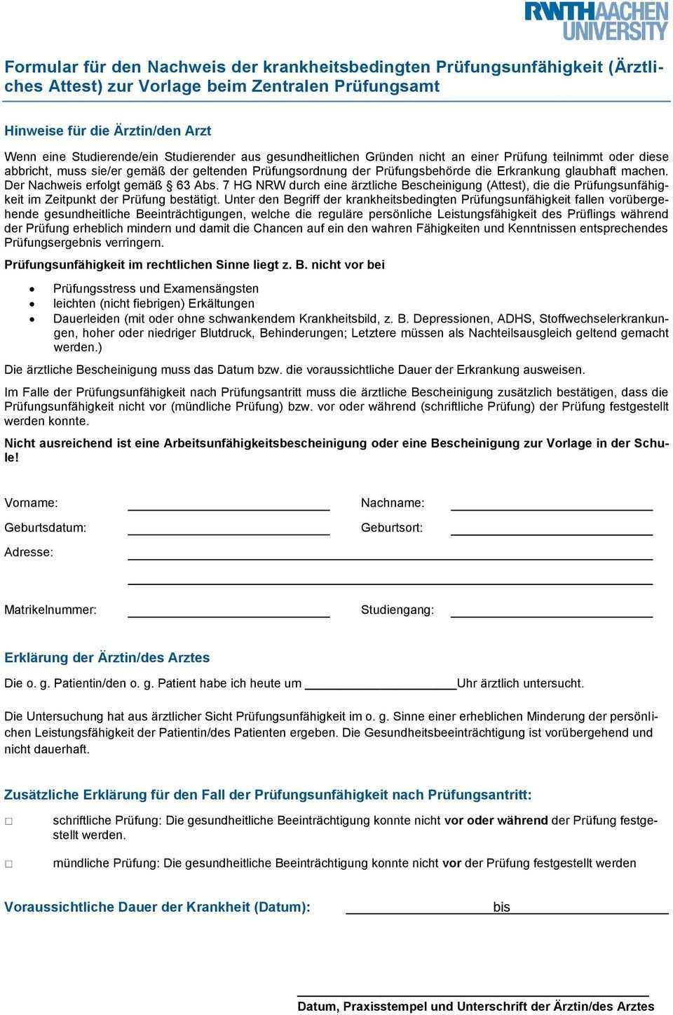 Krankheitsbedingte Prufungsunfahigkeit Im Rahmen Des Handbuchs Fur Studium Und Lehre Pdf Free Download