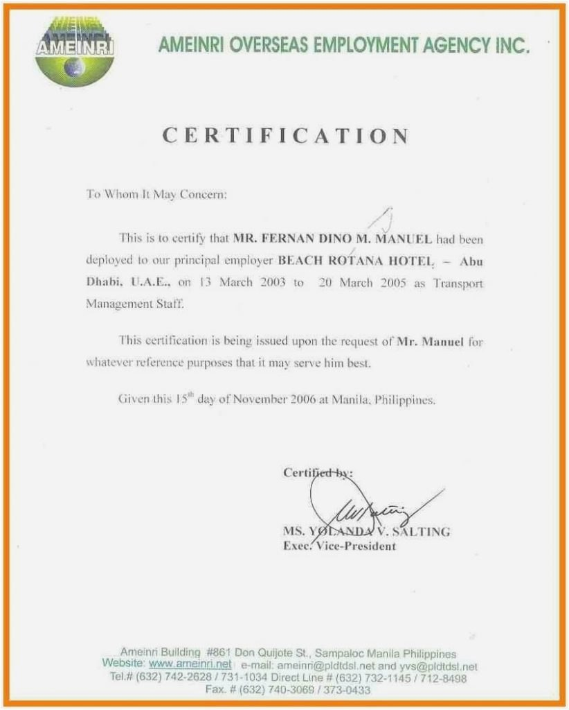 Sample Certificate Of Employment Hotel Letter Of Separation From Certificate Templates Certificate Of Recognition Template Certificate Of Achievement Template