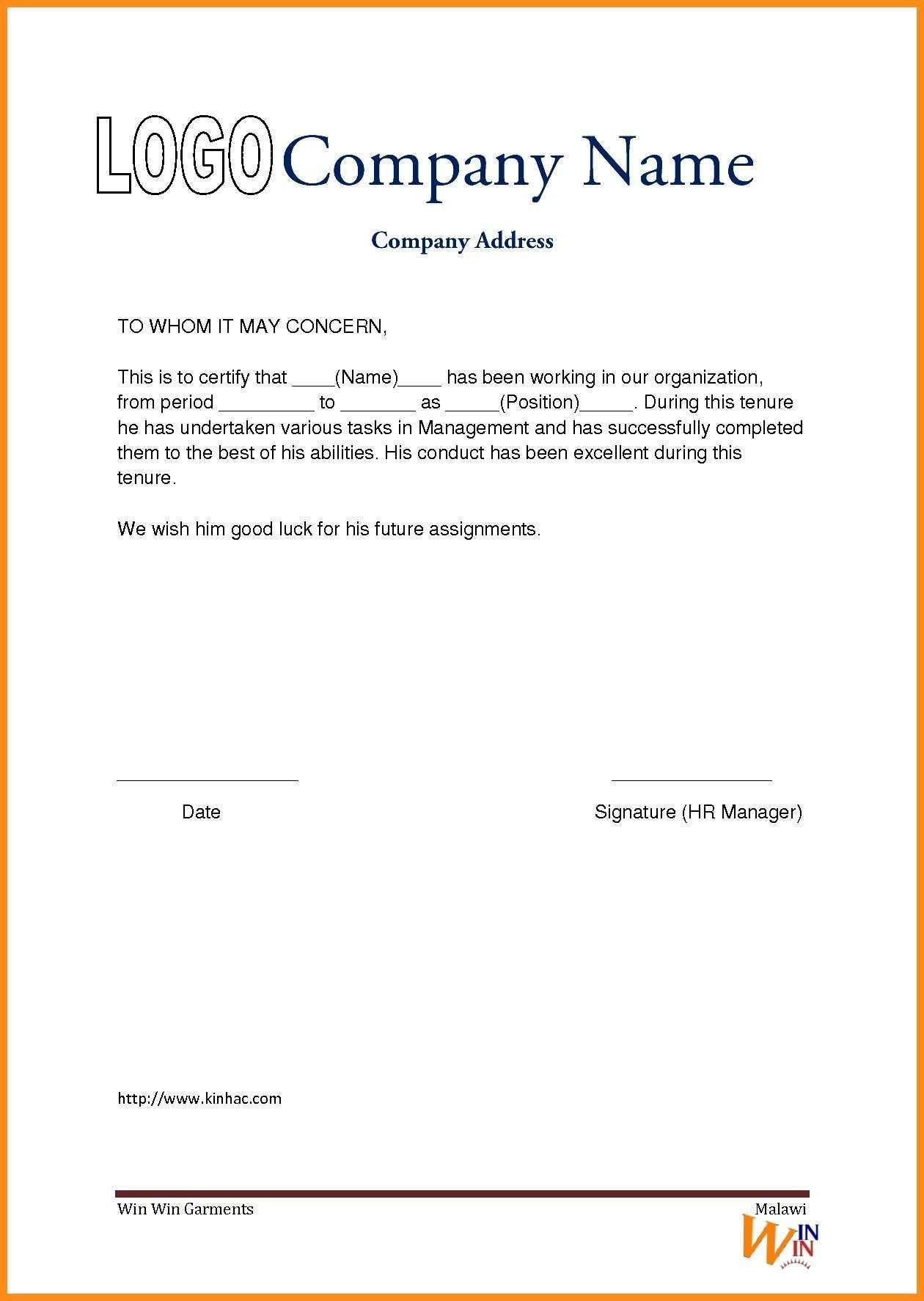 Work Experience Certificate Sle Doc Refrence Work Certificate Format Work Reference Letter Letter Template Word
