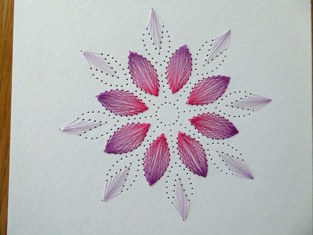 Blutenmandala Mit Fadengrafik Diy Family Papierstickerei Fadengrafik Sticken Auf Papier