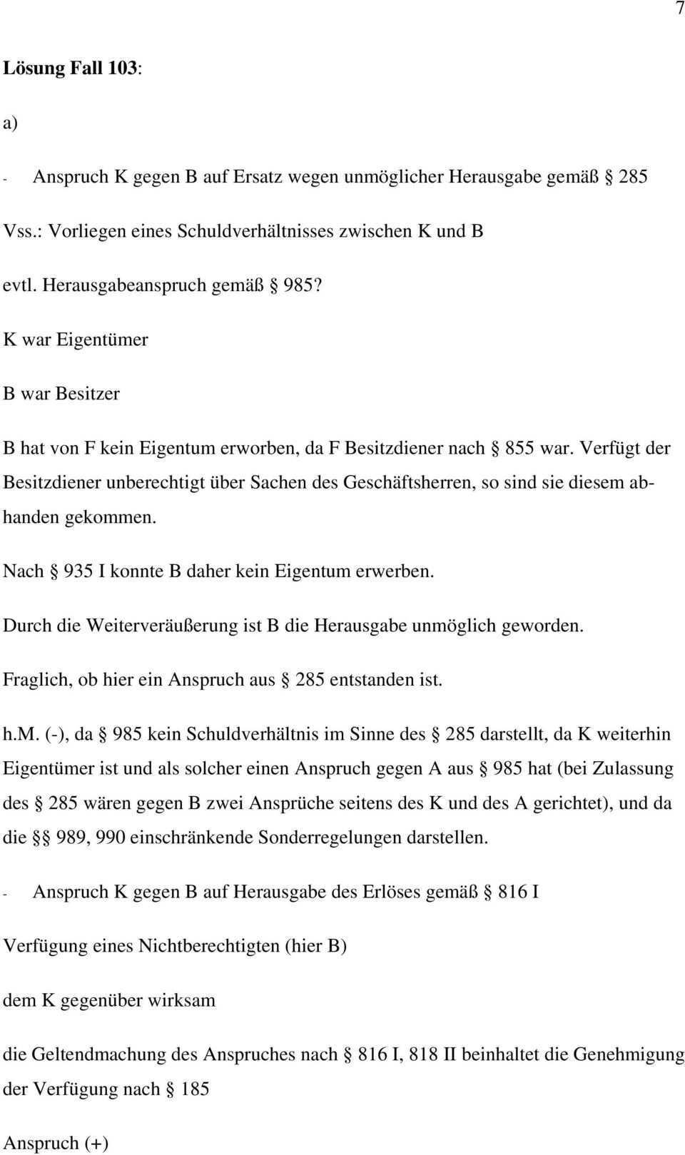 Anspruch Des H Gegen I Auf Herausgabe Gemass Pdf Kostenfreier Download