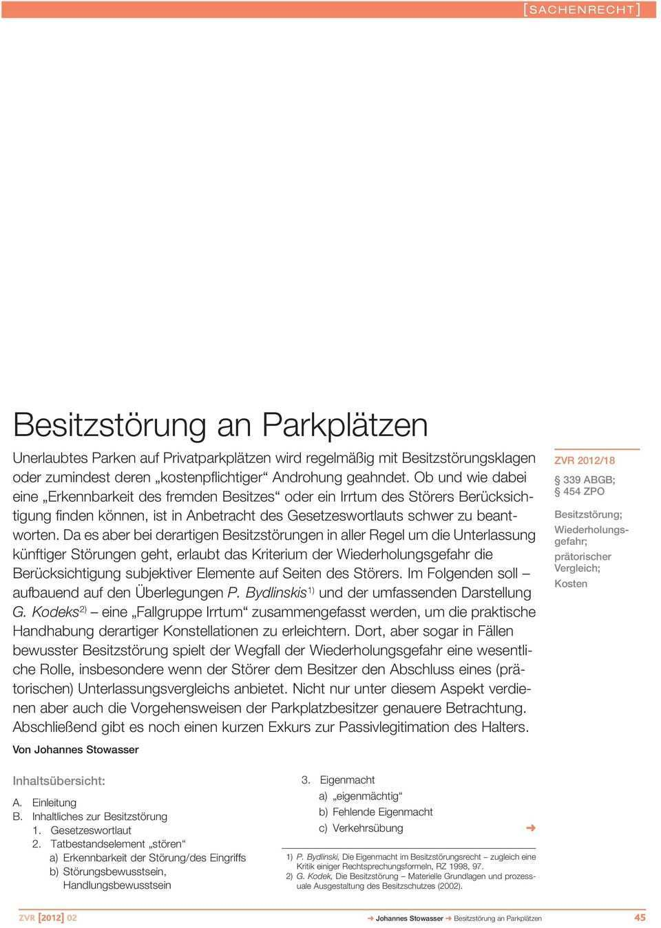 Verkehrs Recht Zvr Zeitschrift Fur Besitzstorung An Parkplatzen Beitrage Pdf Kostenfreier Download