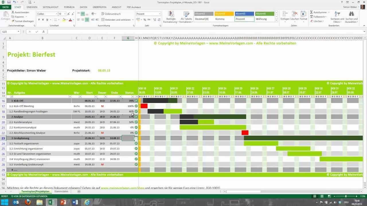 Tutorial Fur Excel Projektplan Terminplan Zeitplan Meinevolagen Com Youtube