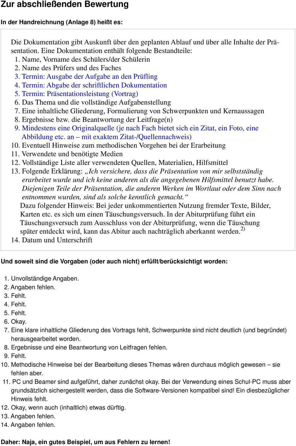 Hinweise Und Beispiel E Fur Die Schriftliche Dokumentation Pdf Free Download