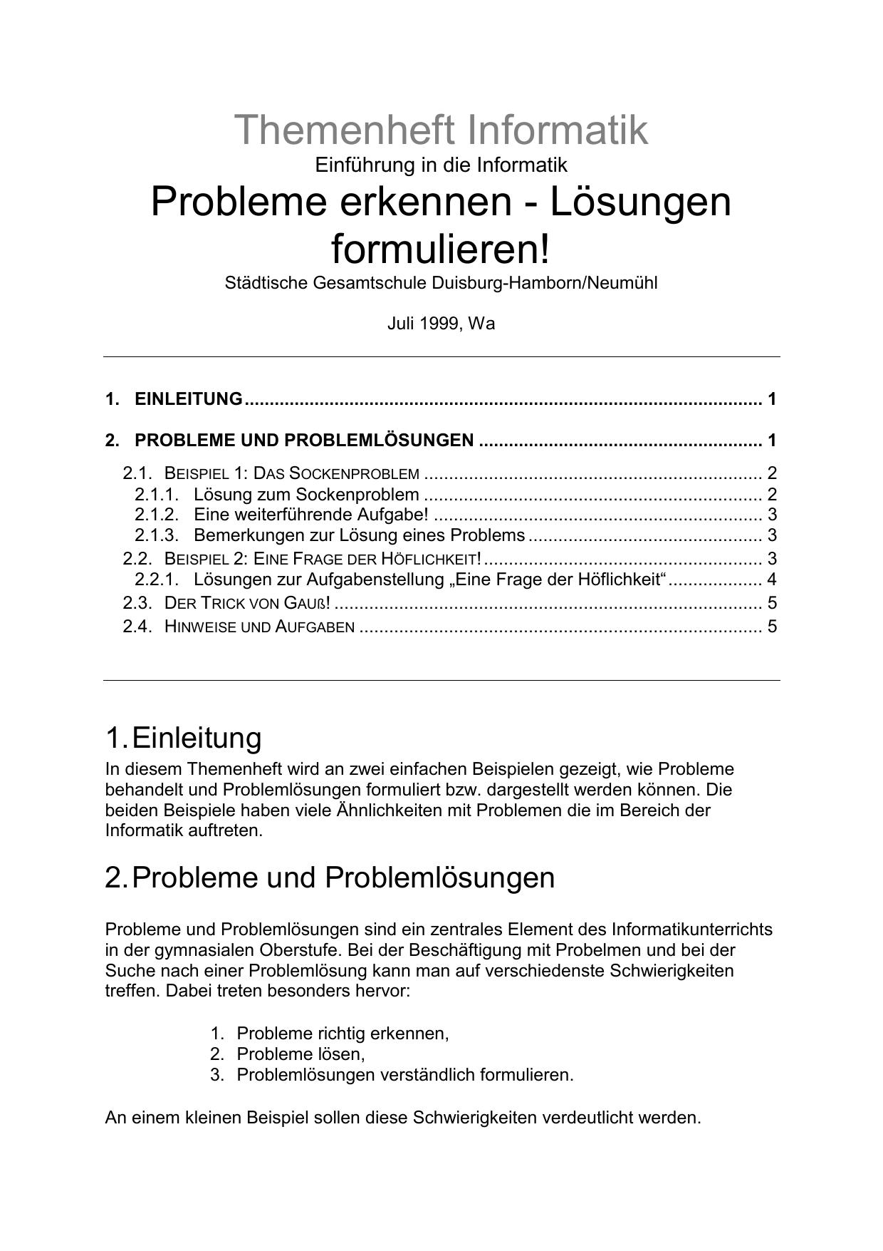 Themenheft Informatik Probleme Erkennen