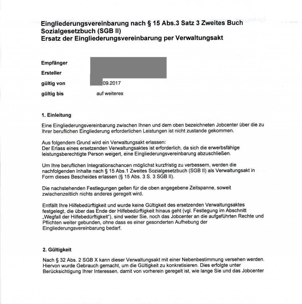 Egv Per Verwaltungsakt Mit Dubioser Gultigkeitsdauer Erbitte Hilfe Fur Widerspruch Erwerbslosenforum Deutschland