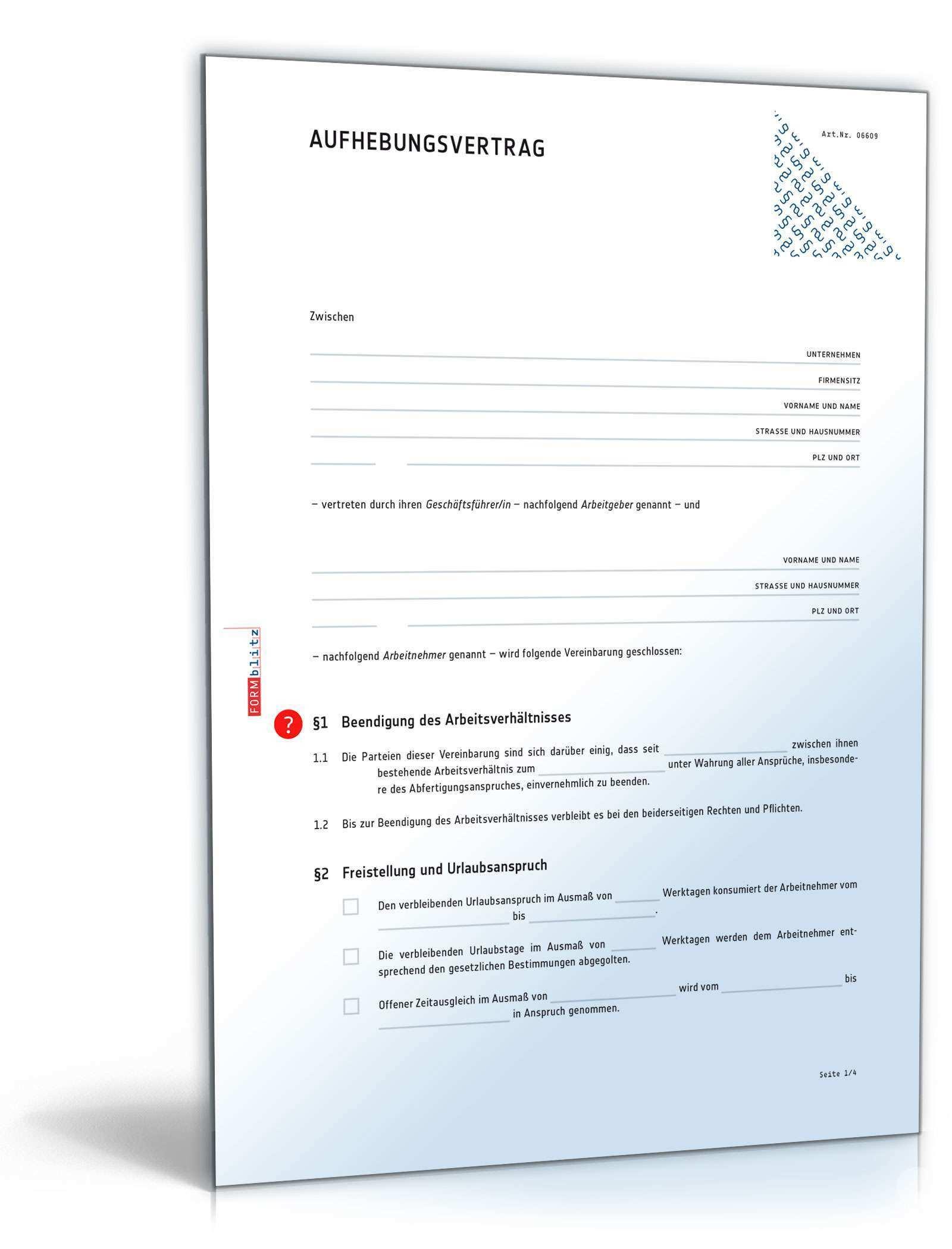 Aufhebungsvertrag Fur Ein Arbeitsverhaltnis Muster Zum Download