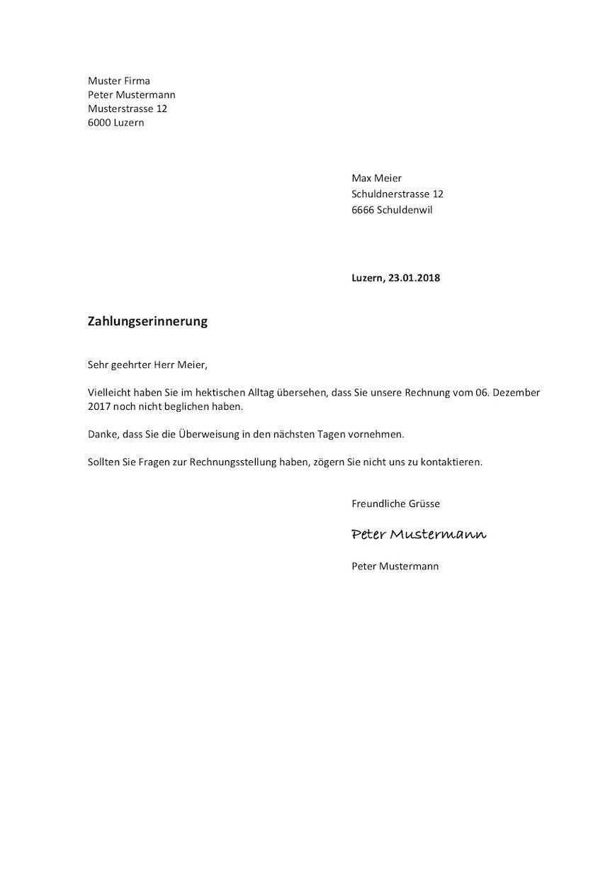 Mahnung Vorlage Schweiz Im Word Format Absage Bewerbung Entschuldigung Schule Bewerbung Muster