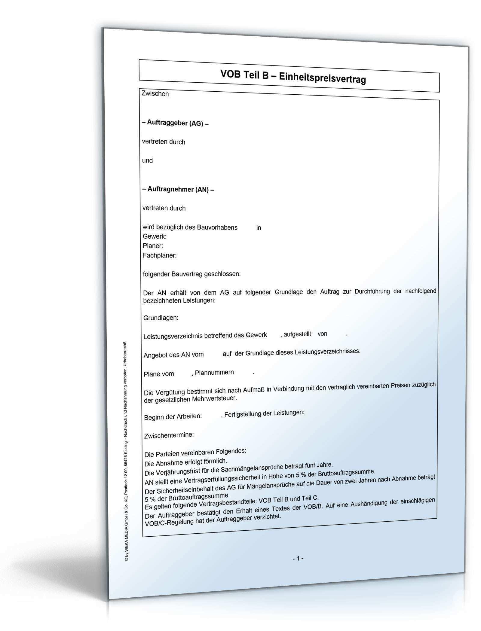 Vob B Bauvertrag Einheitspreisvertrag Muster Zum Download