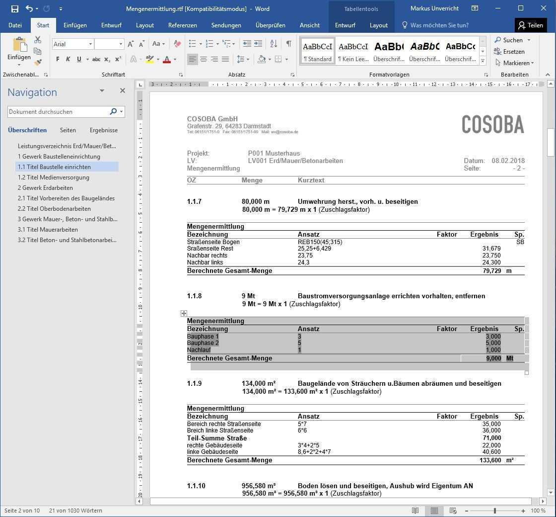 Kostenlose Mengenermittlung Als Gaeb X31 Word Und Excel