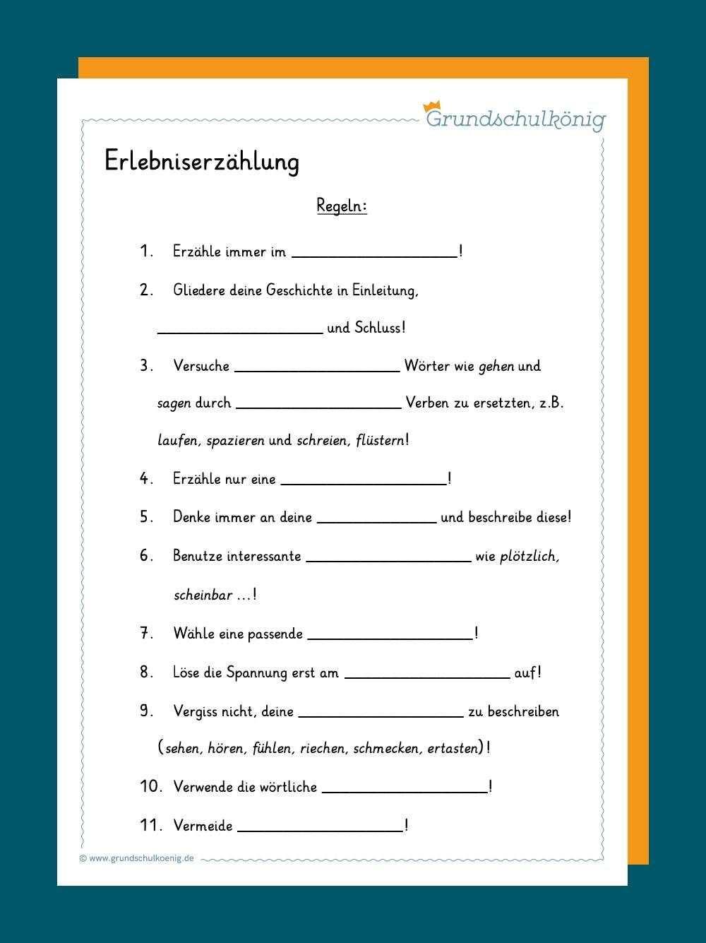 Erlebniserzahlung Lernen Tipps Schule Erlebniserzahlung Aufsatz Schreiben