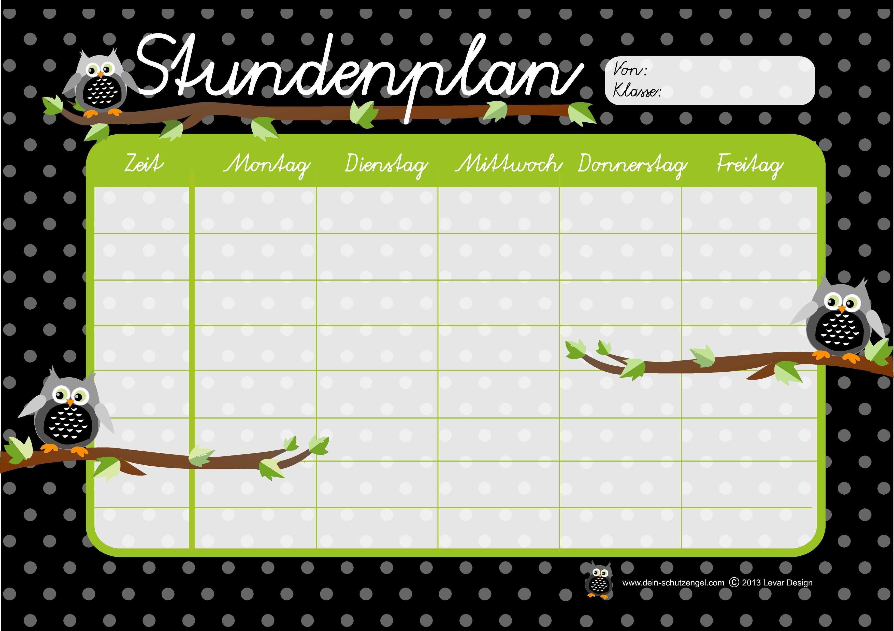Stundenplan Din A4 Eulen Pdf Download Stundenplan Planer Stundenplan Vorlage
