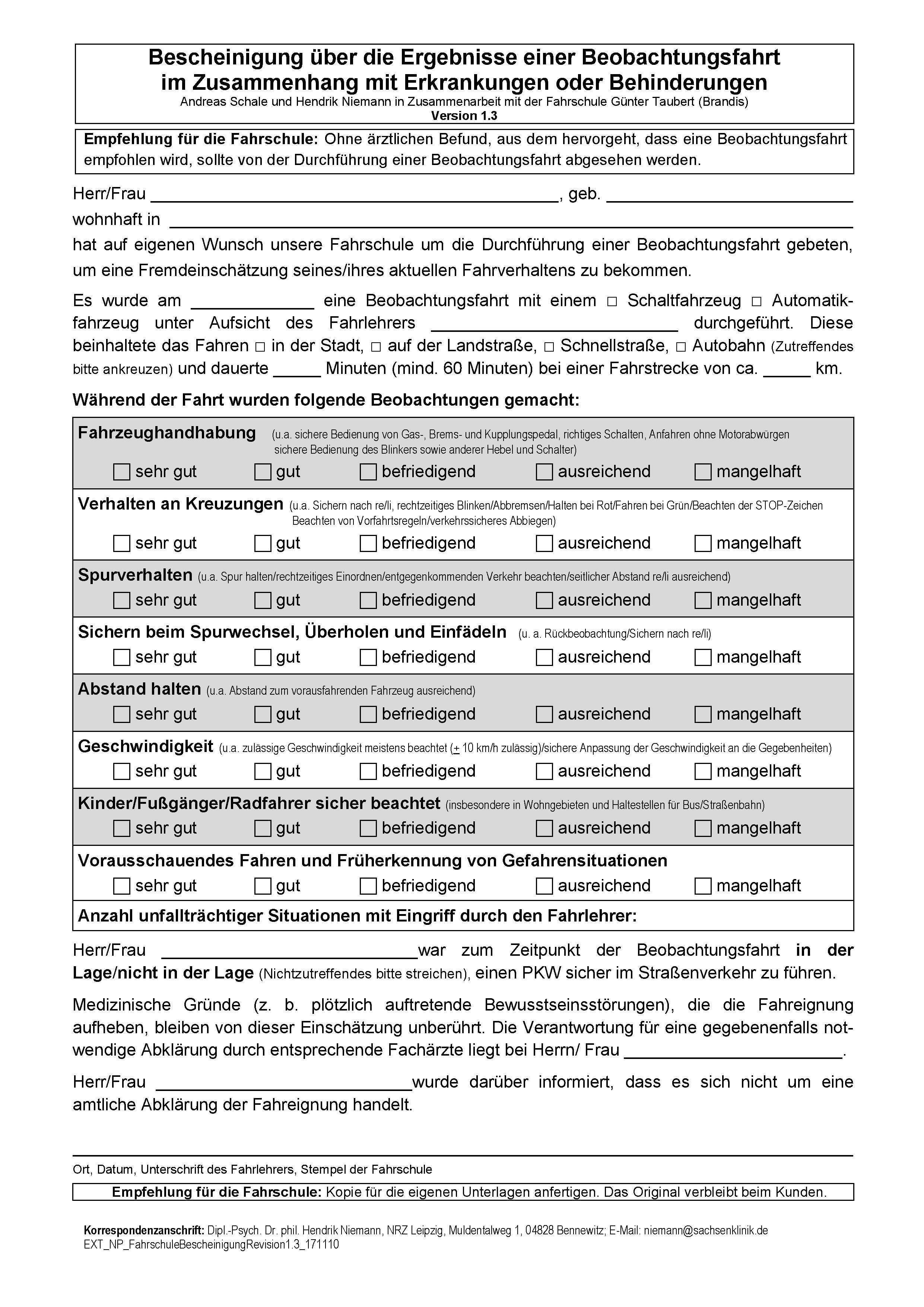 2018 01 44 Fahreignung Und Beobachtungsfahrt Vordruck Wurde Uberarbeitet Fahrlehrerverband Baden Wurttemberg