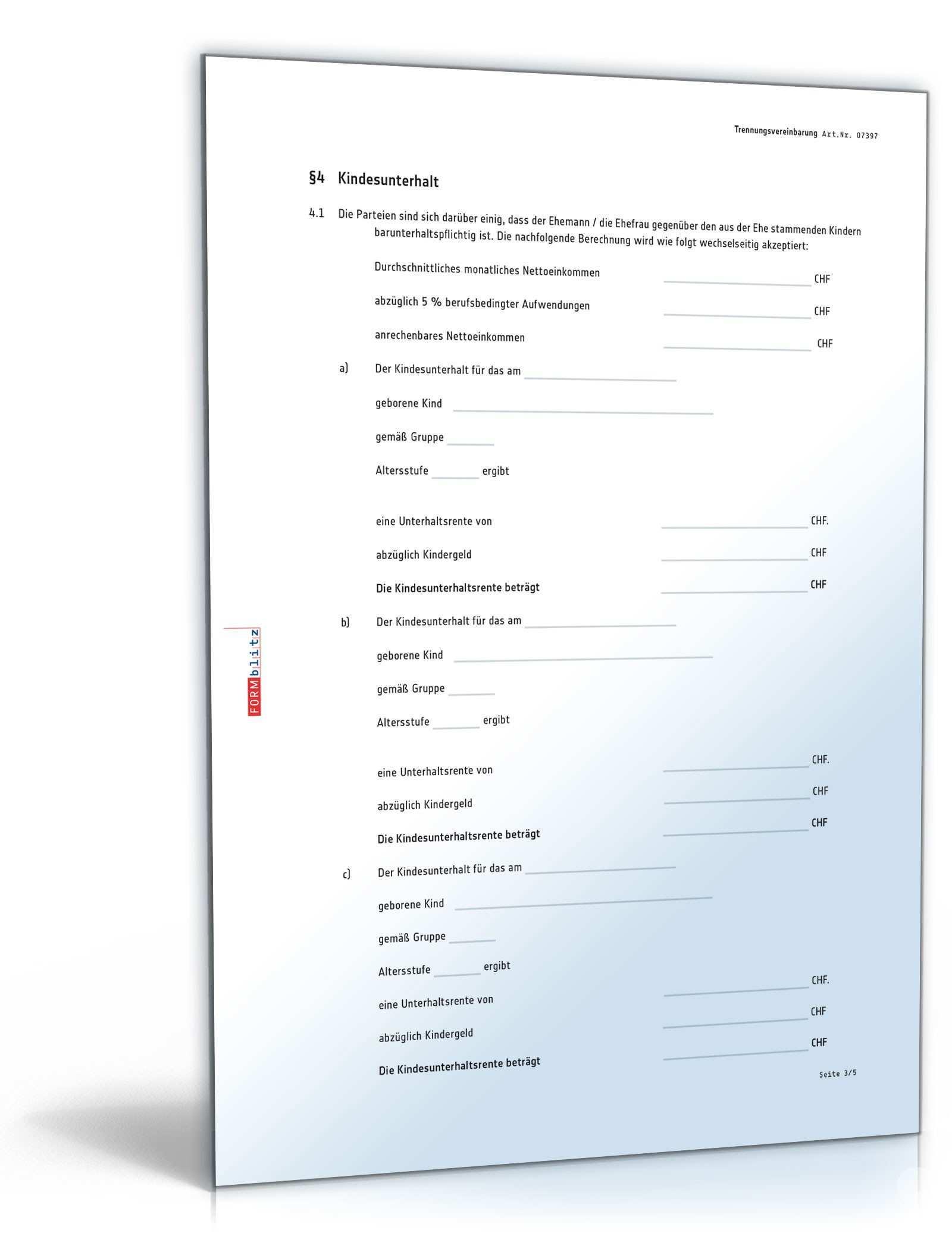 Trennungsvereinbarung Muster Zum Download