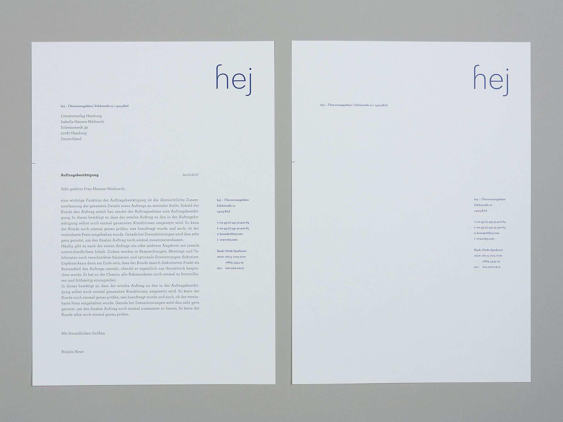 Hej Ubersetzungsburo Briefkopf Design Briefpapier Design Schriftzug Design