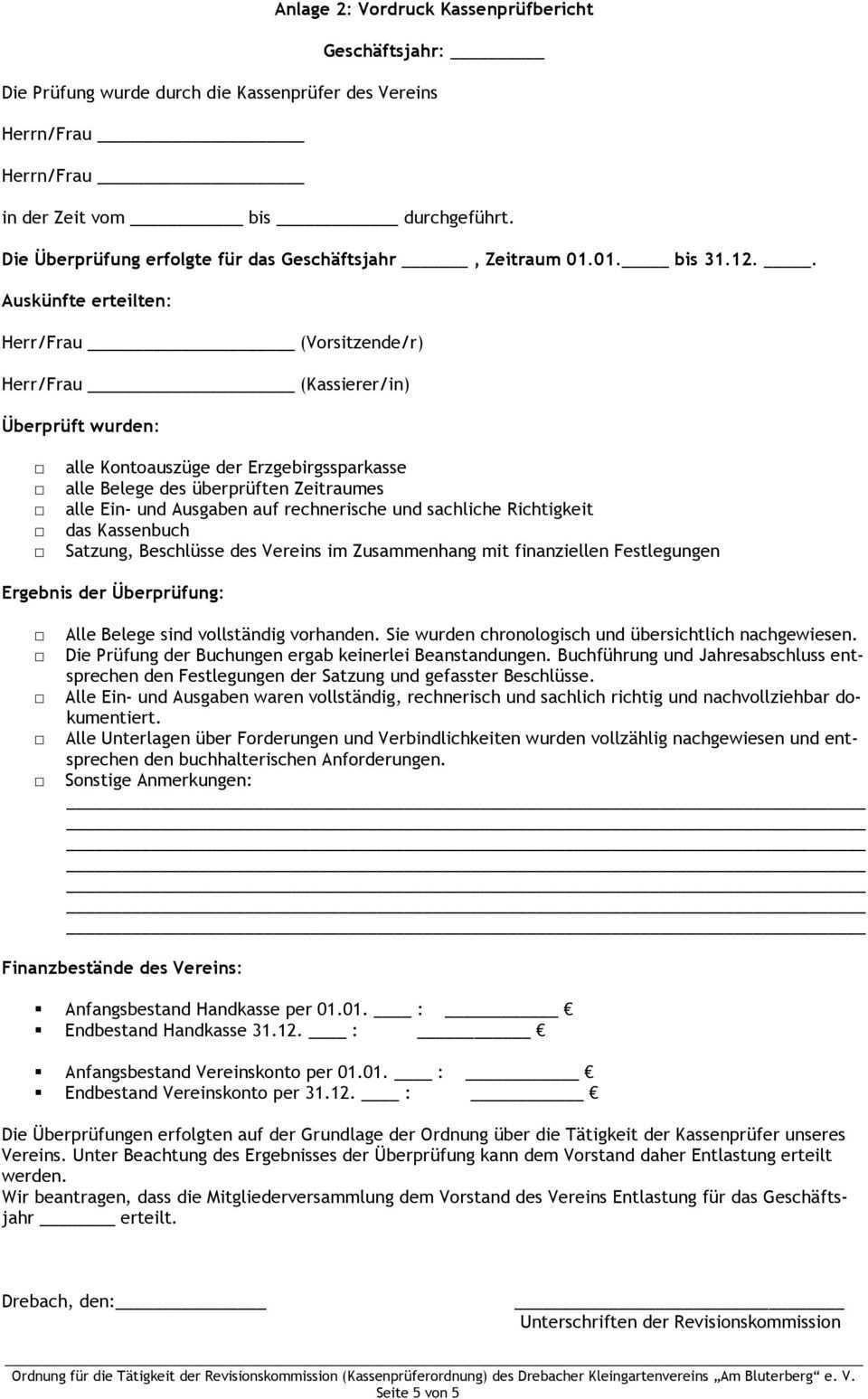 Ordnung Fur Die Tatigkeit Der Revisionskommission Kassenpruferordnung Des Drebacher Kleingartenvereins Am Bluterberg E V Pdf Kostenfreier Download