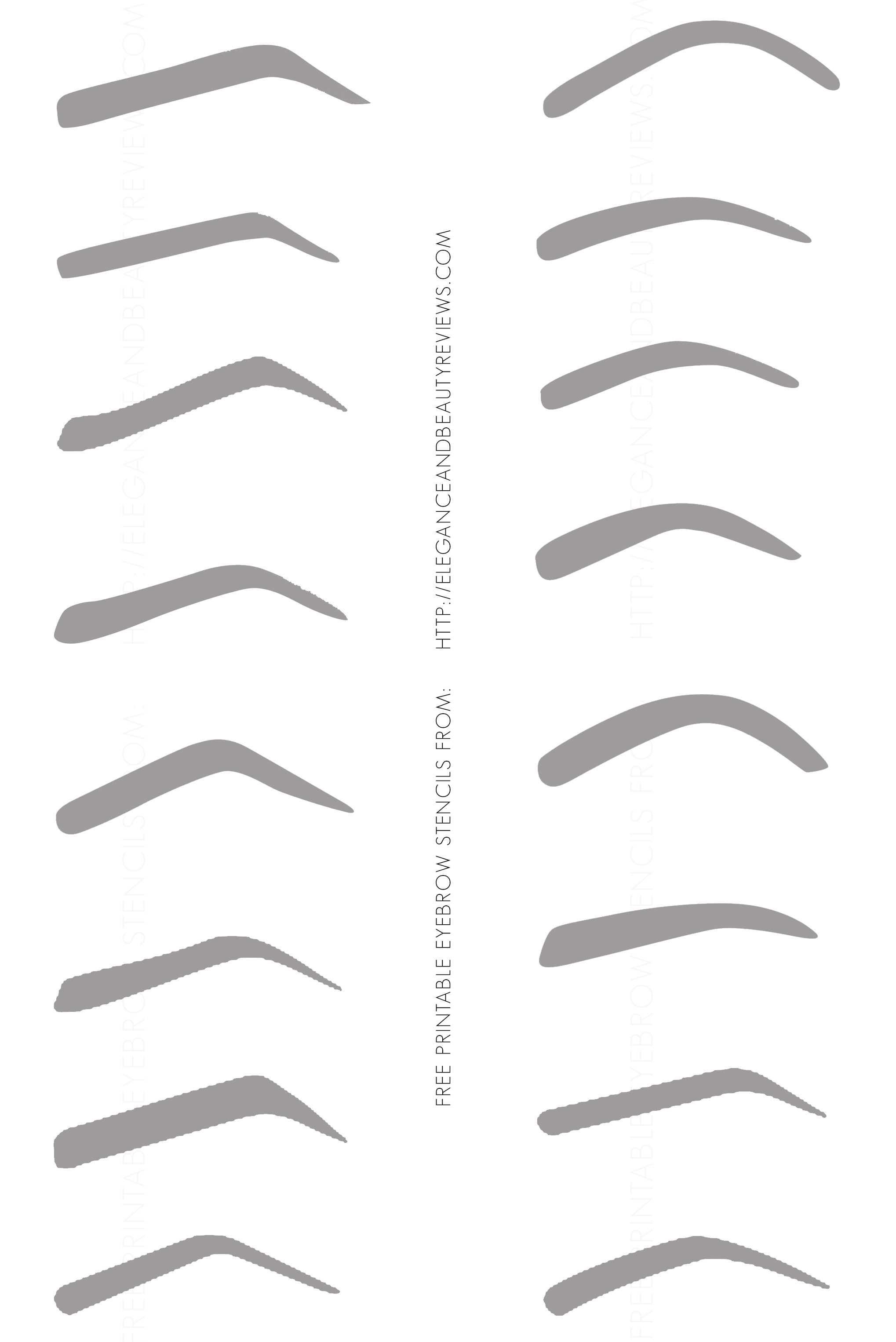 Free Printable Eyebrow Stencils Jpg 2038 3052 Eyebrow Stencil Brow Stencils Eyebrow Embroidery