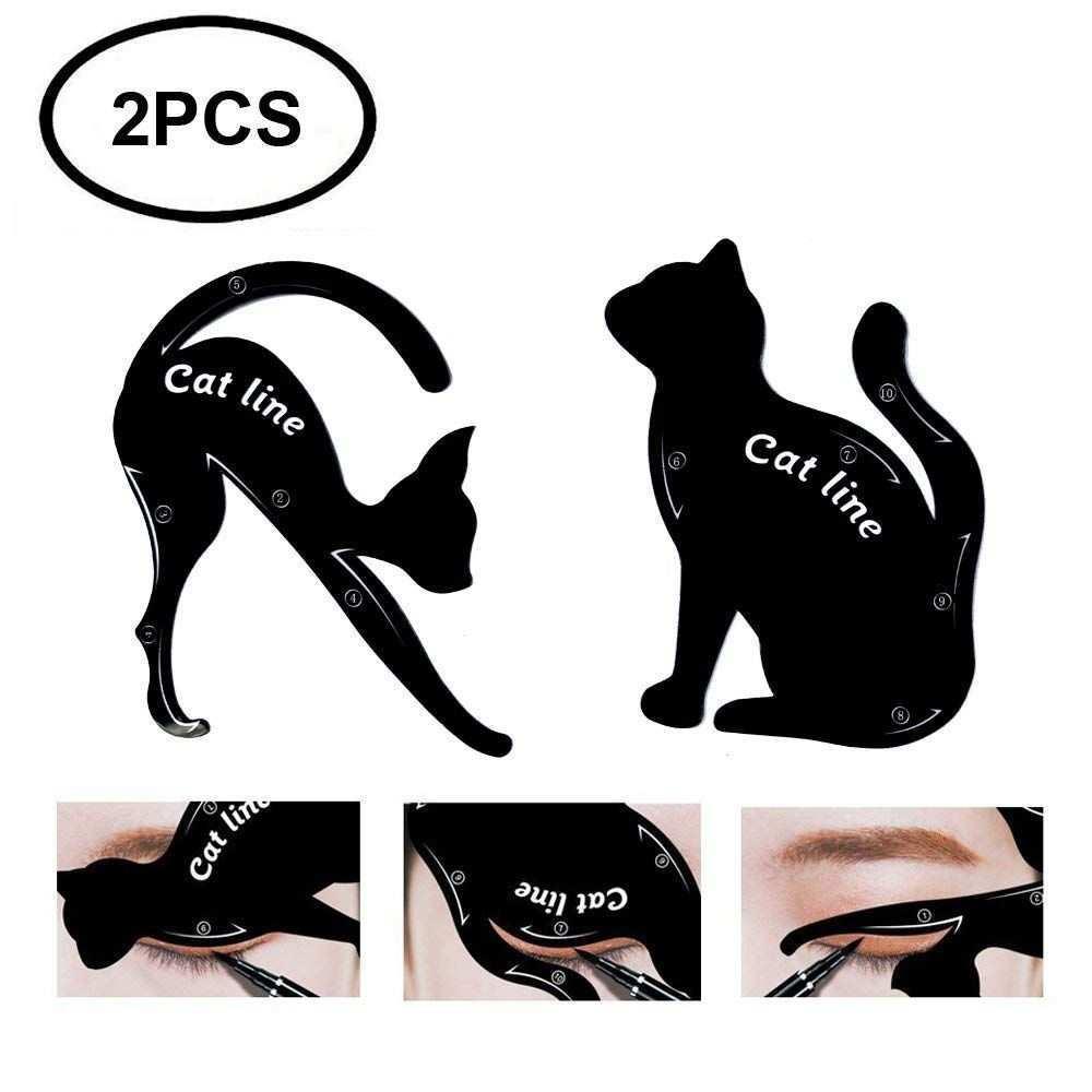 Tailaimei 2 Pcs Cat Eyeliner Stencils Matte Pvc Material Smoky Eyeshadow Applicators Template Plate Cat Shape Eye Eyeliner Schablone Katzen Eyeliner Eyeliner