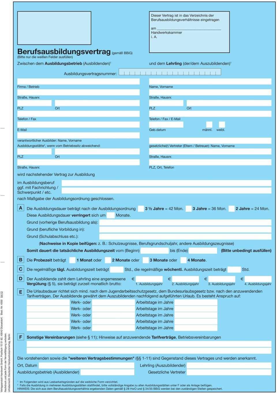 Bitte Um Beachtung 4 Vordrucke Berufsausbildungsvertrag Bestehend Aus Vorder Und Ruckseite Sowie Dieses Deckblatt Pdf Free Download