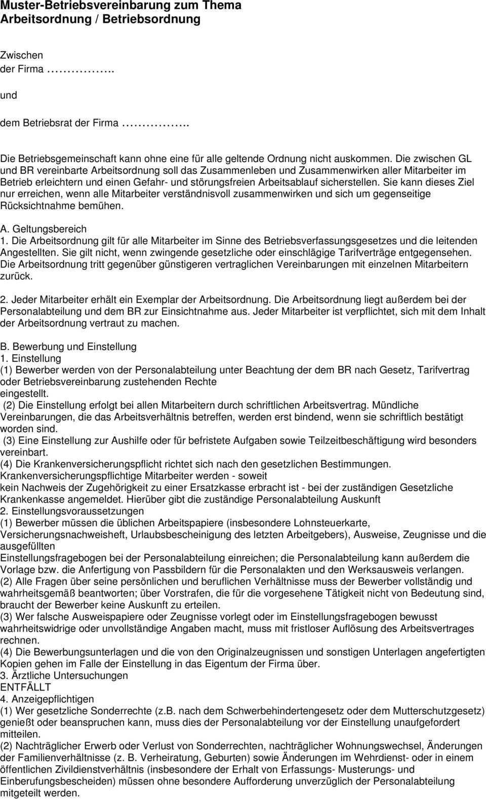 Muster Betriebsvereinbarung Zum Thema Arbeitsordnung Betriebsordnung Pdf Free Download