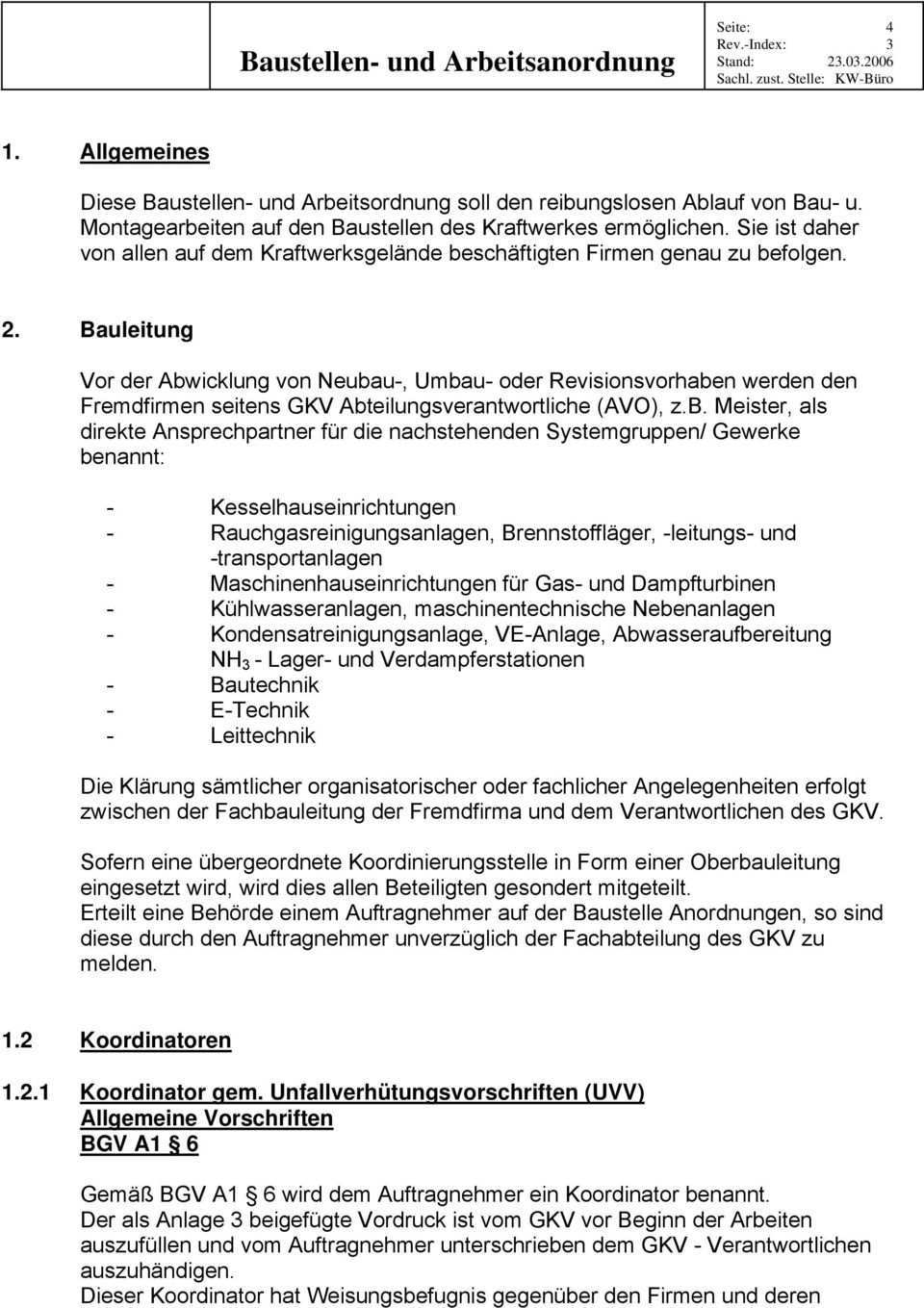 Baustellen Und Arbeitsanordnung Der Gemeinschaftskraftwerk Veltheim Gmbh Gkv Pdf Kostenfreier Download