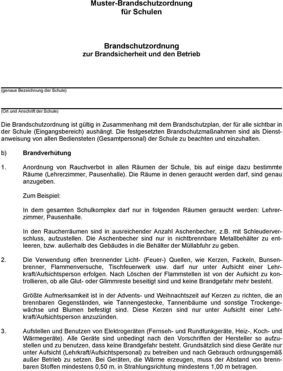 Muster Brandschutzordnung Fur Schulen Brandschutzordnung Zur Brandsicherheit Und Den Betrieb Pdf Free Download