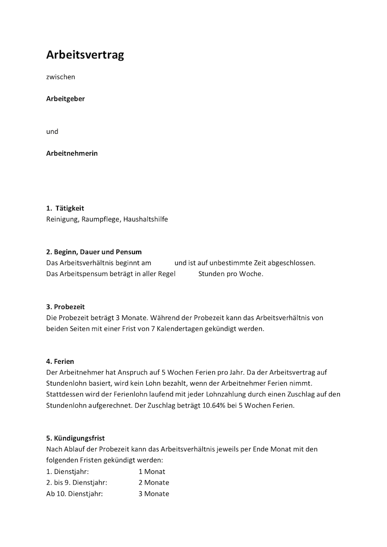 Arbeitsvertrag Putzfrau Vorlage Stundenlohn Muster Vorlage Ch