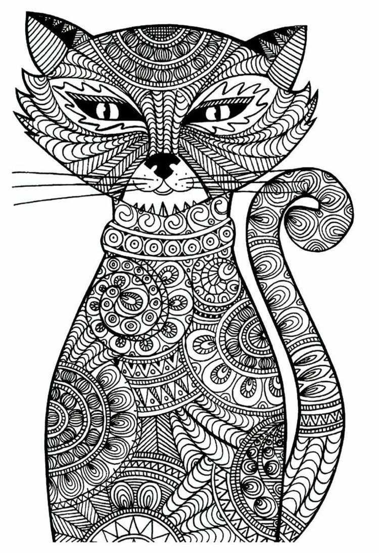 Vorlagen Fur Eine Gemusterte Katze Ausmalbilder Katzen Ausmalbilder Ausmalbilder Zum Ausdrucken