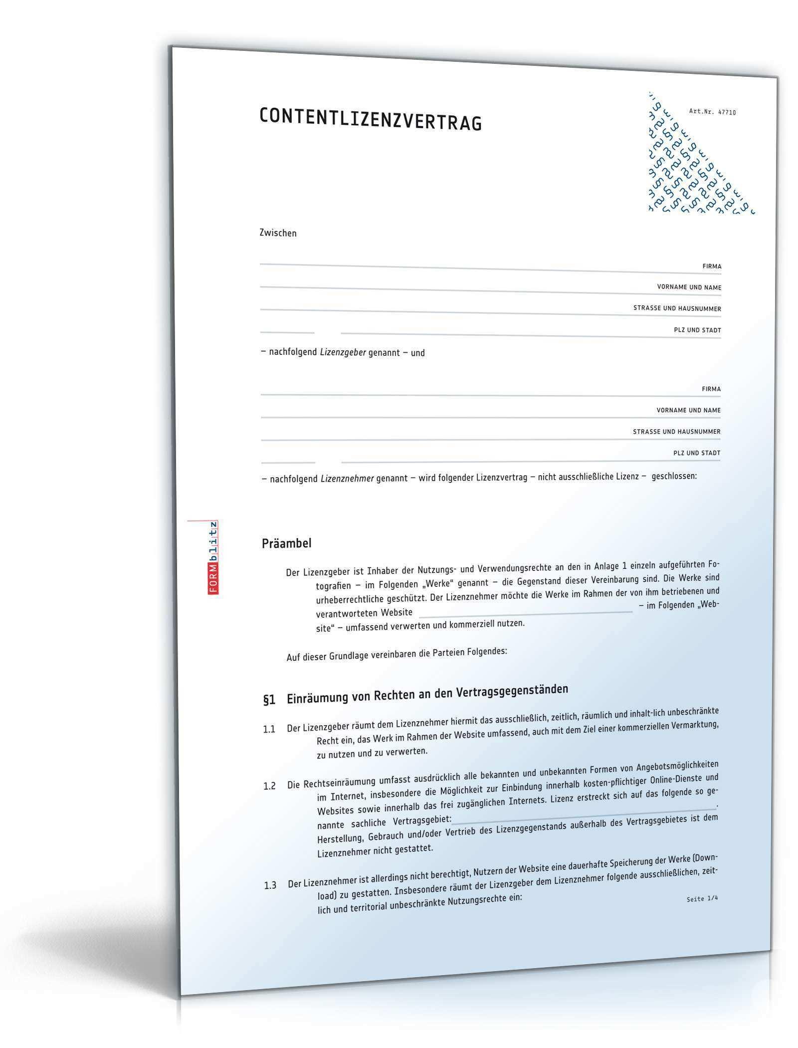 Content Lizenzvertrag Muster Zum Download
