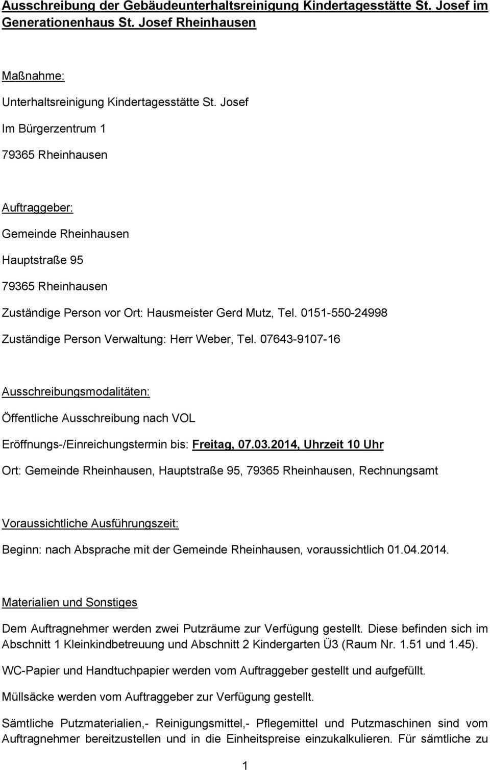 Ausschreibung Der Gebaudeunterhaltsreinigung Kindertagesstatte St Josef Im Generationenhaus St Josef Rheinhausen Pdf Free Download