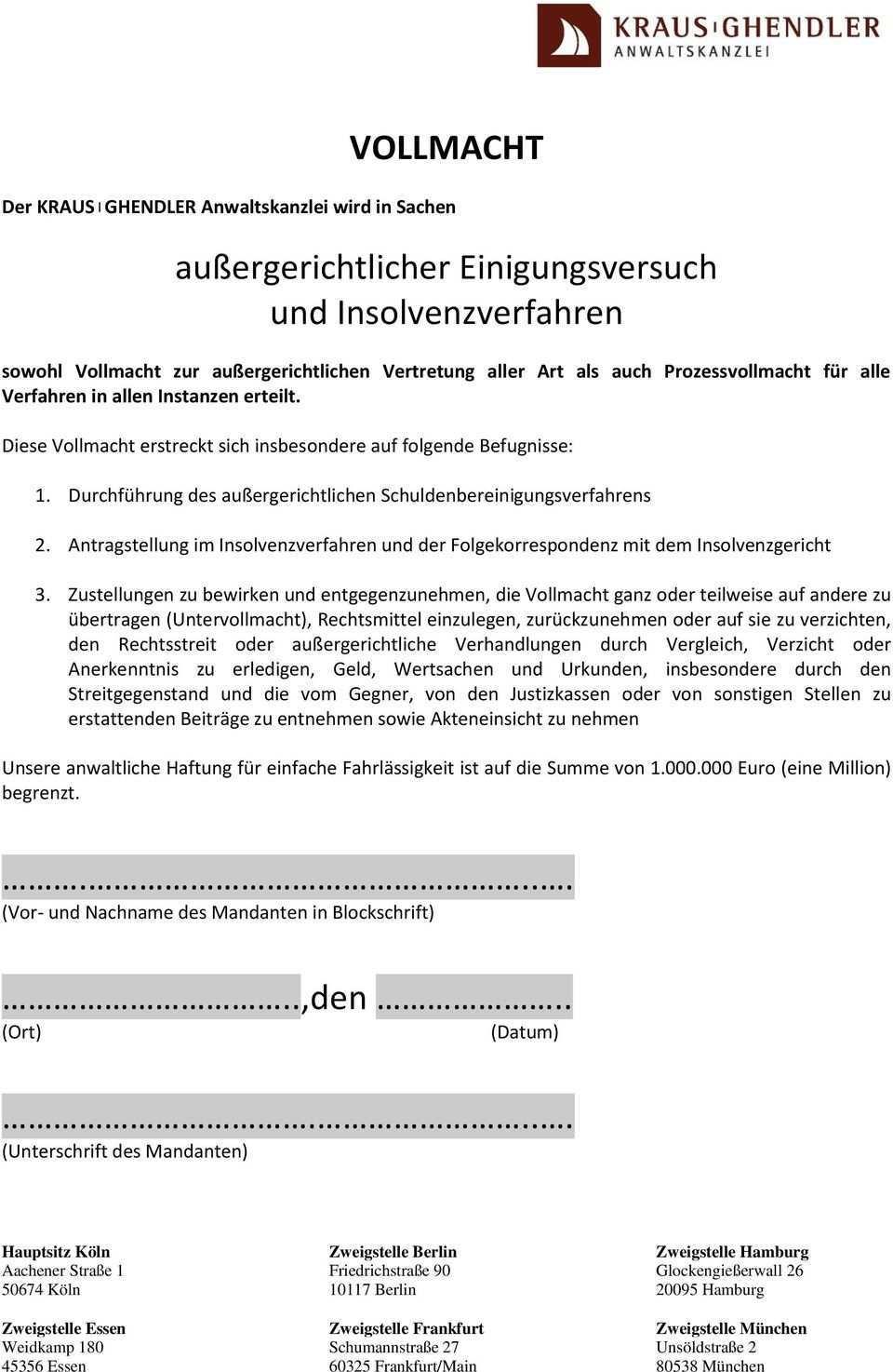 Vollmacht Aussergerichtlicher Einigungsversuch Und Insolvenzverfahren Pdf Free Download