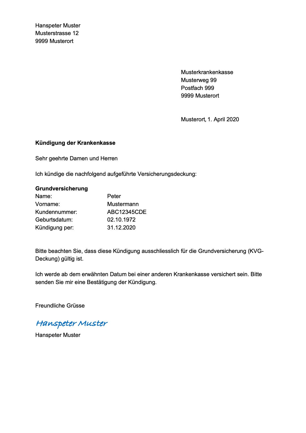 Vorlage Kundigung Fur Job Wohnung Fitness Abo Krankenkasse Gratis