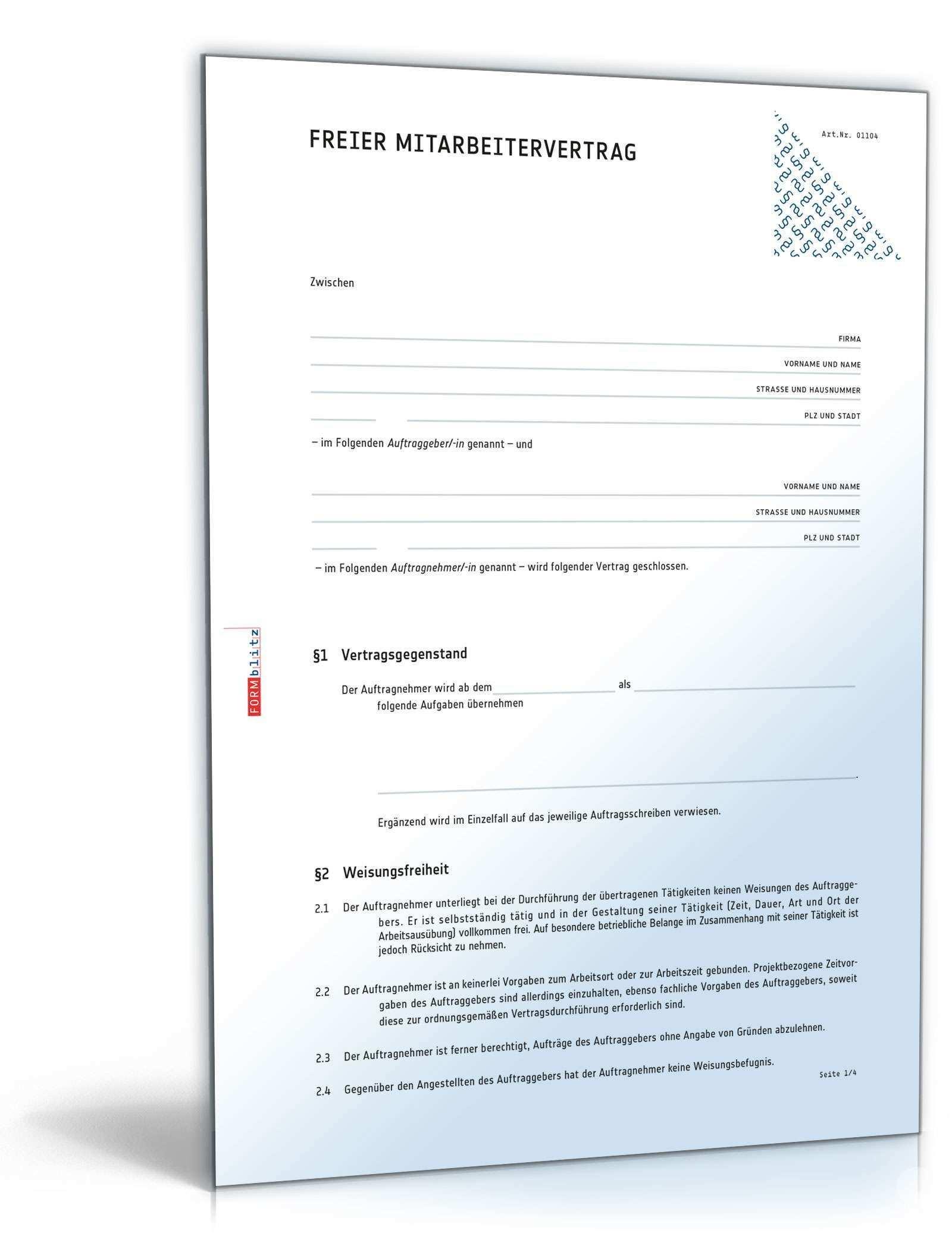 Freier Mitarbeiter Vertrag Vorlage Sofort Zum Download Muster Als Word Und Pdf Herunterladen Und Freie Mitarbeit Rechts Rechnung Vorlage Vorlagen Kaufvertrag