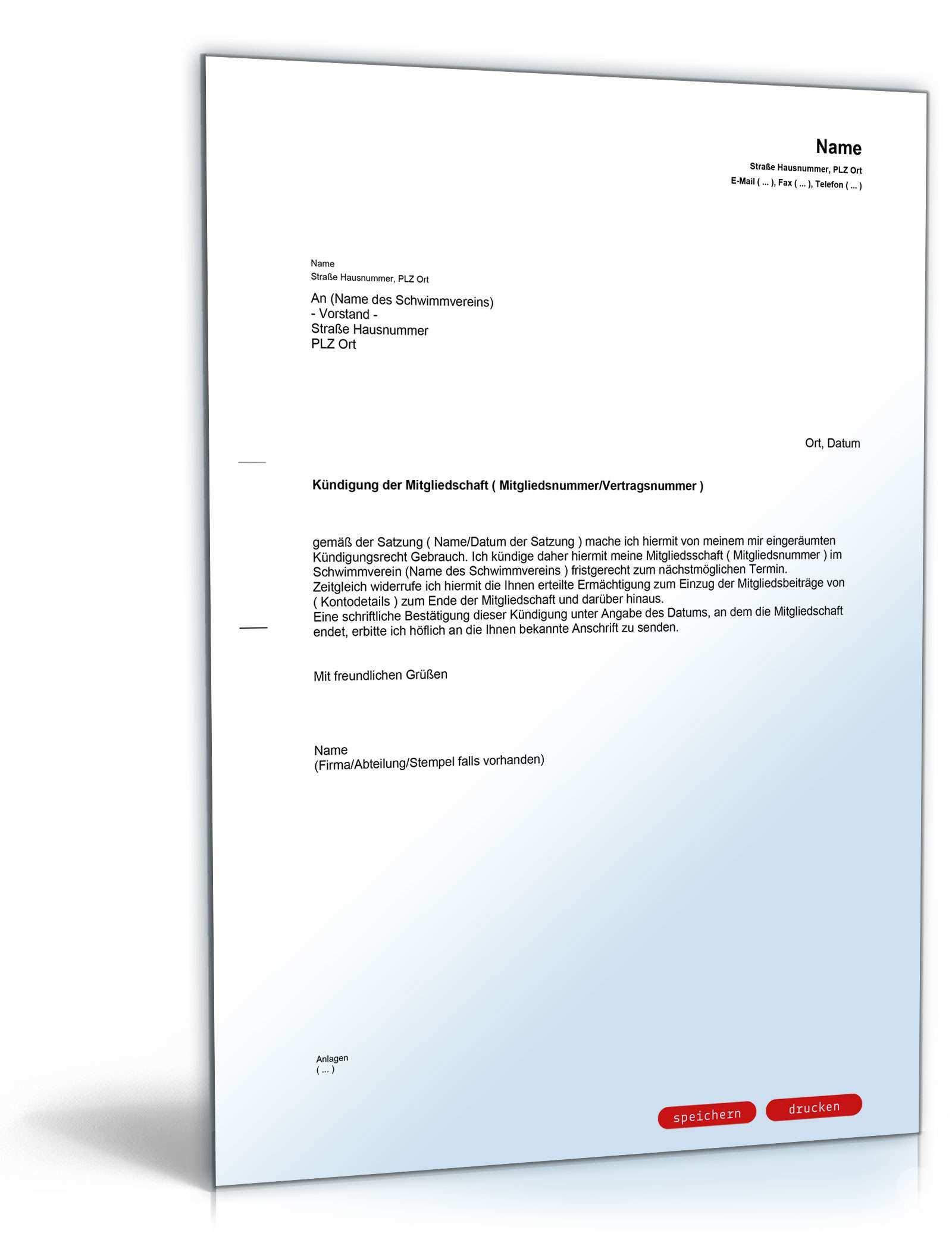 Kundigung Mitgliedschaft Schwimmverein Muster Zum Download