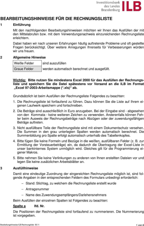 Bearbeitungshinweise Fur Die Rechnungsliste Pdf Kostenfreier Download