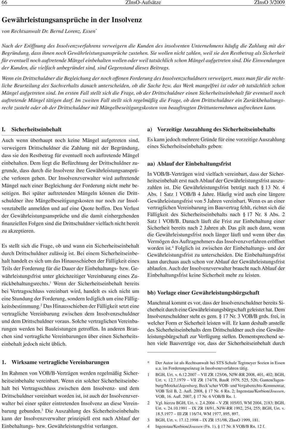 Gewahrleistungsanspruche In Der Insolvenz Pdf Kostenfreier Download