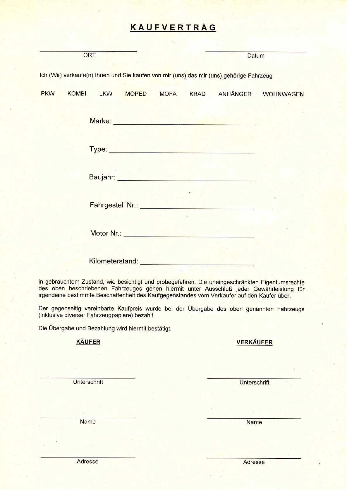 Allgemeiner Kfz Kaufvertrag Wolle Kaufen Kaufvertrag Vertrag