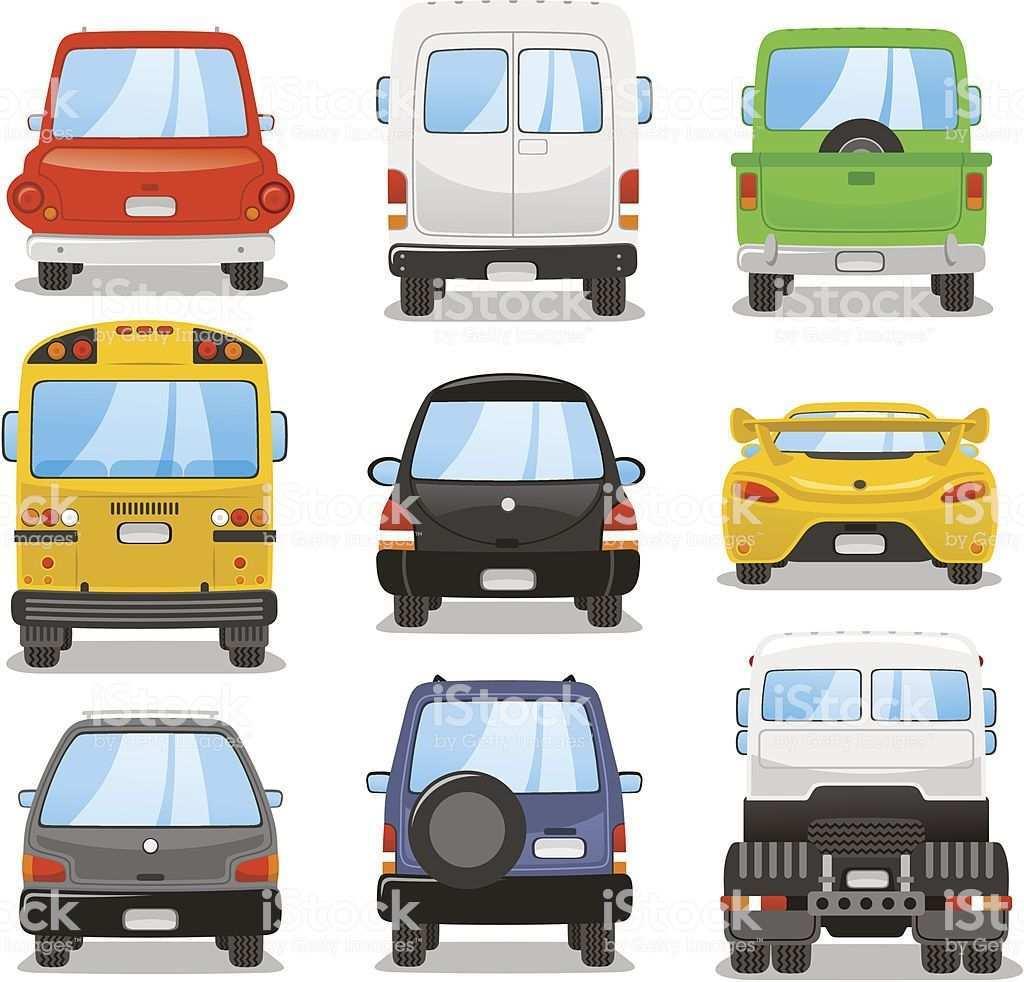 Car Rear Vector Illustration Set Auto Illustration Vektorzeichnung Illustration