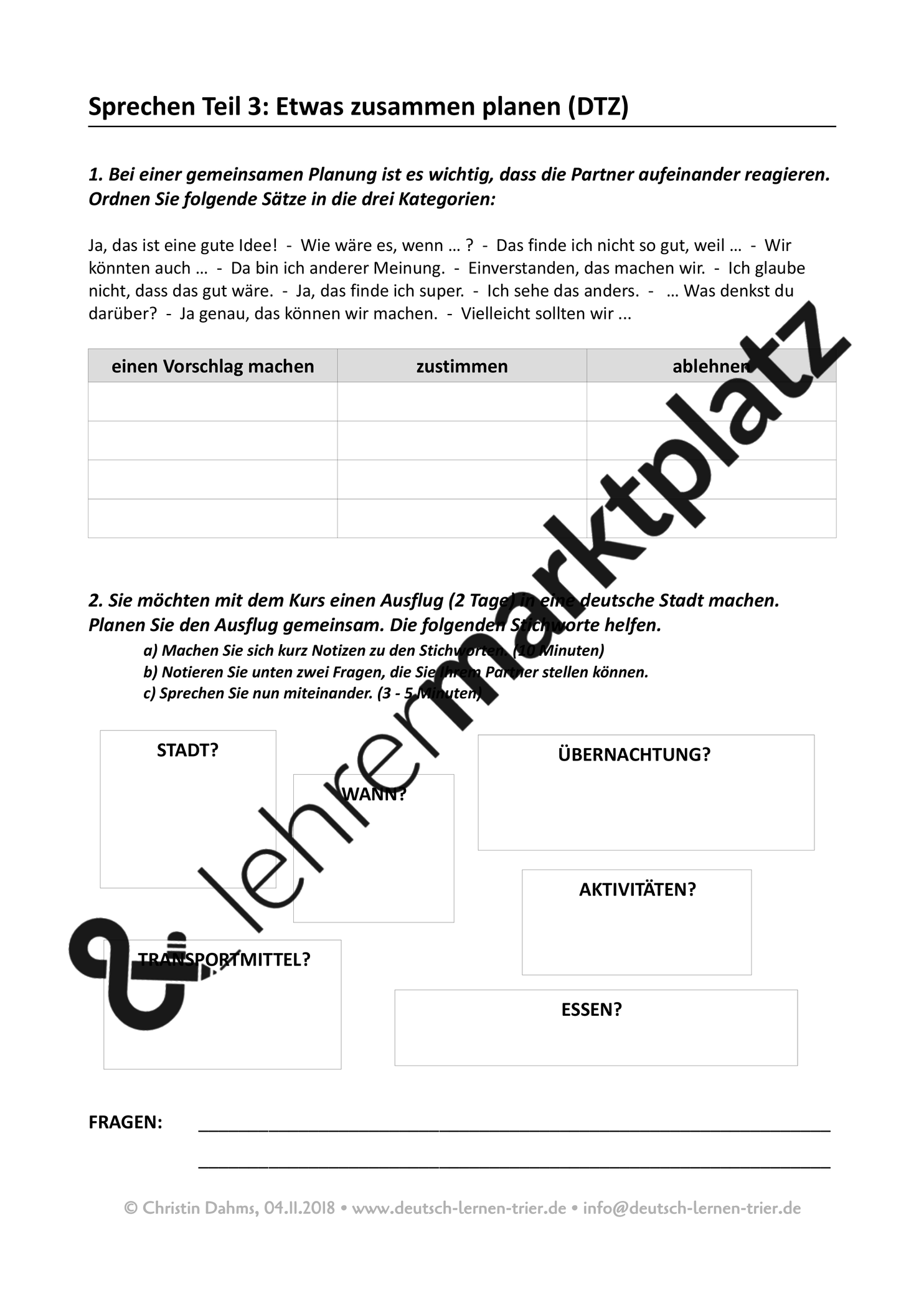 B1 Dtz Sprechen Teil 3 Redemittel Und Sprechaufgabe Unterrichtsmaterial Im Fach Daz Daf Sprechubungen Sprechen Brief Deutsch
