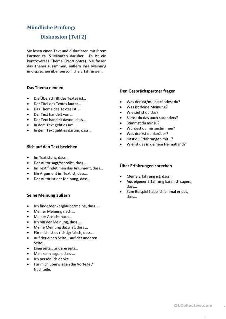 B2 Redemittel Ma Ndliche Pra Fung Diskussion Deutsch Als Fremdsprache Deutsch Als Fremdsprache Deutsch Schreiben Lernen Mundliche Prufung