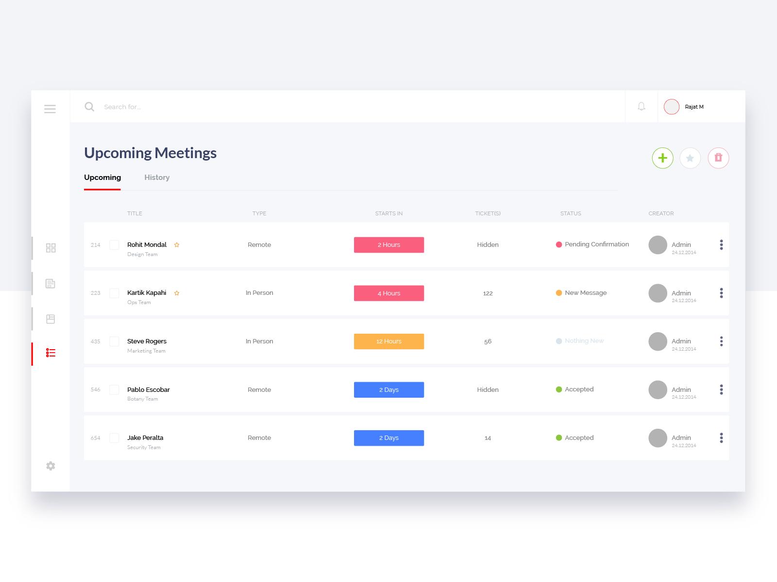 Upcoming Meetings Schedule Dashboard Design Template Web App Design Dashboard Design